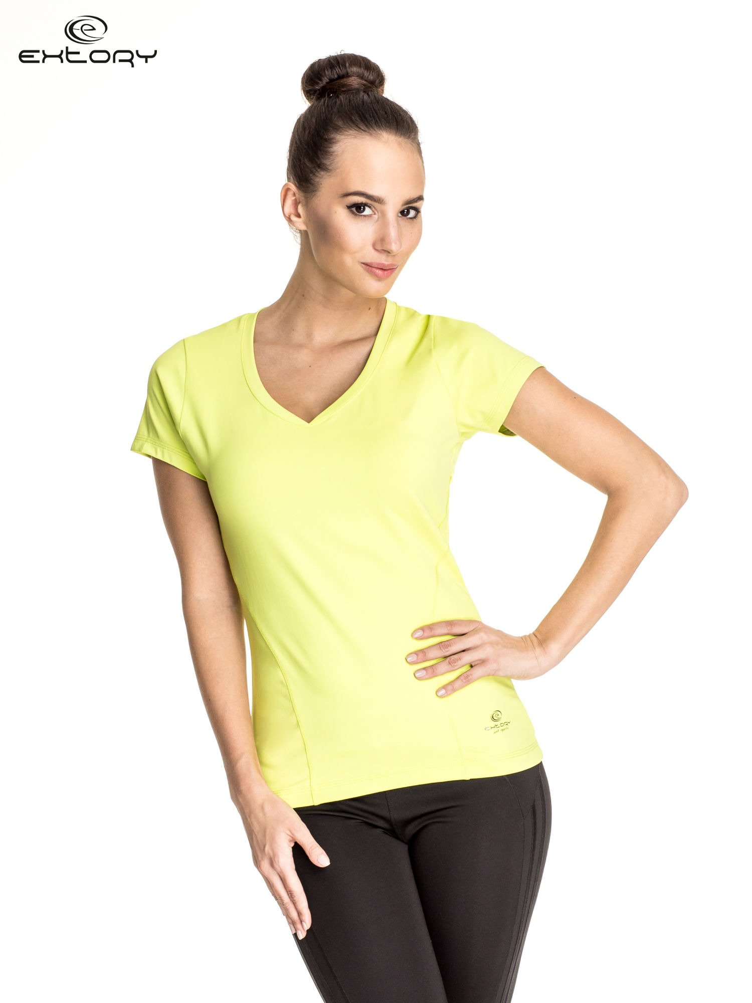 Zielony t-shirt sportowy z dekoltem V-neck PLUS SIZE                                  zdj.                                  1