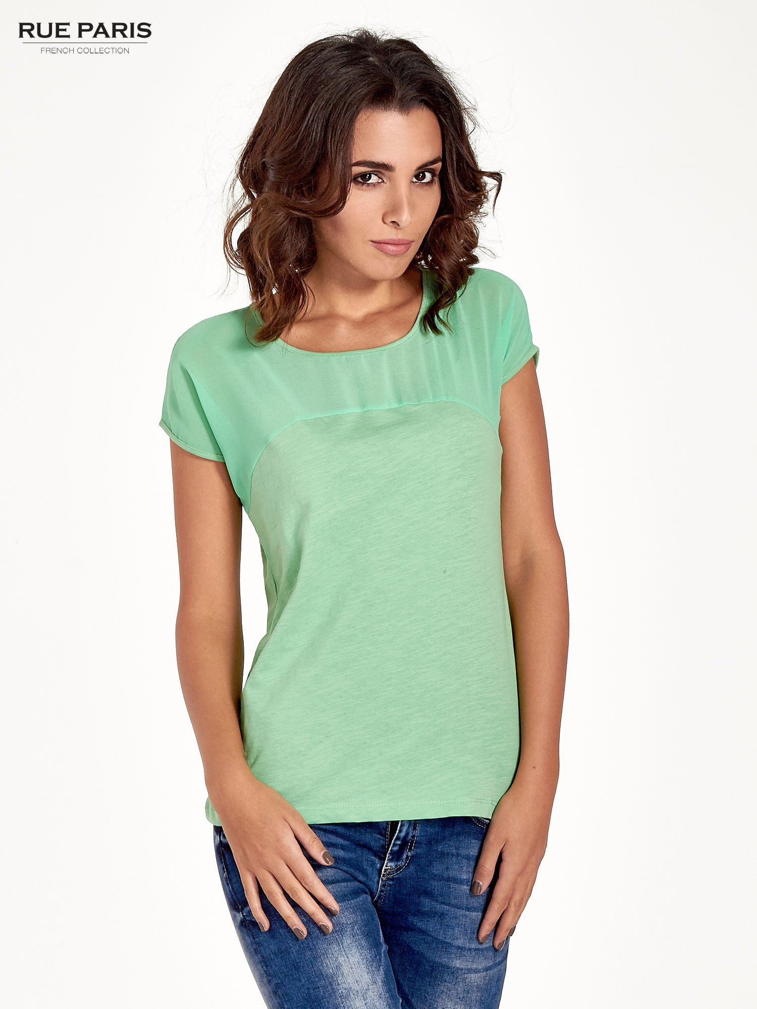 Zielony t-shirt z górą mgiełką                                  zdj.                                  1