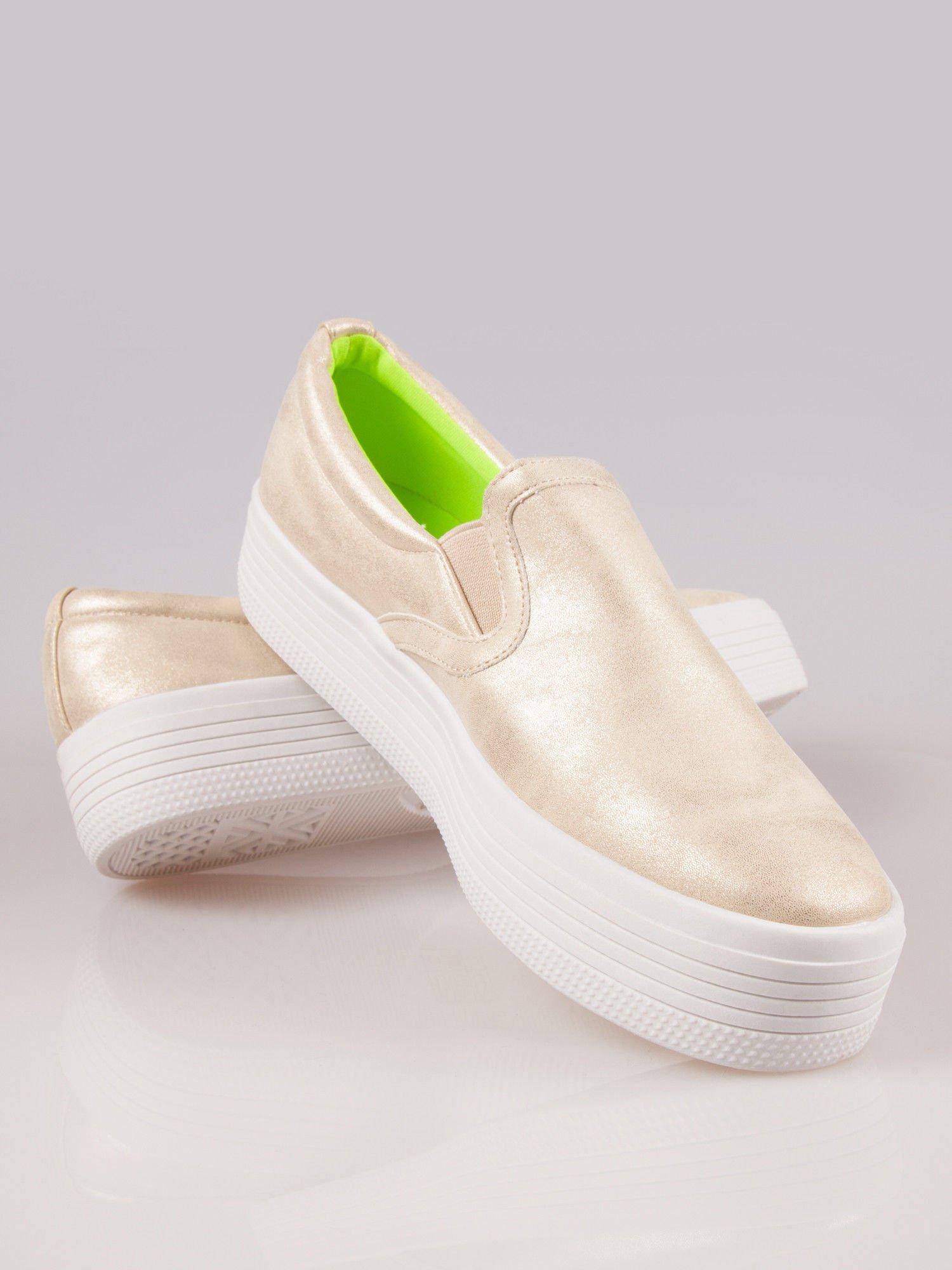 Złote buty slip on na grubej podeszwie                                  zdj.                                  4