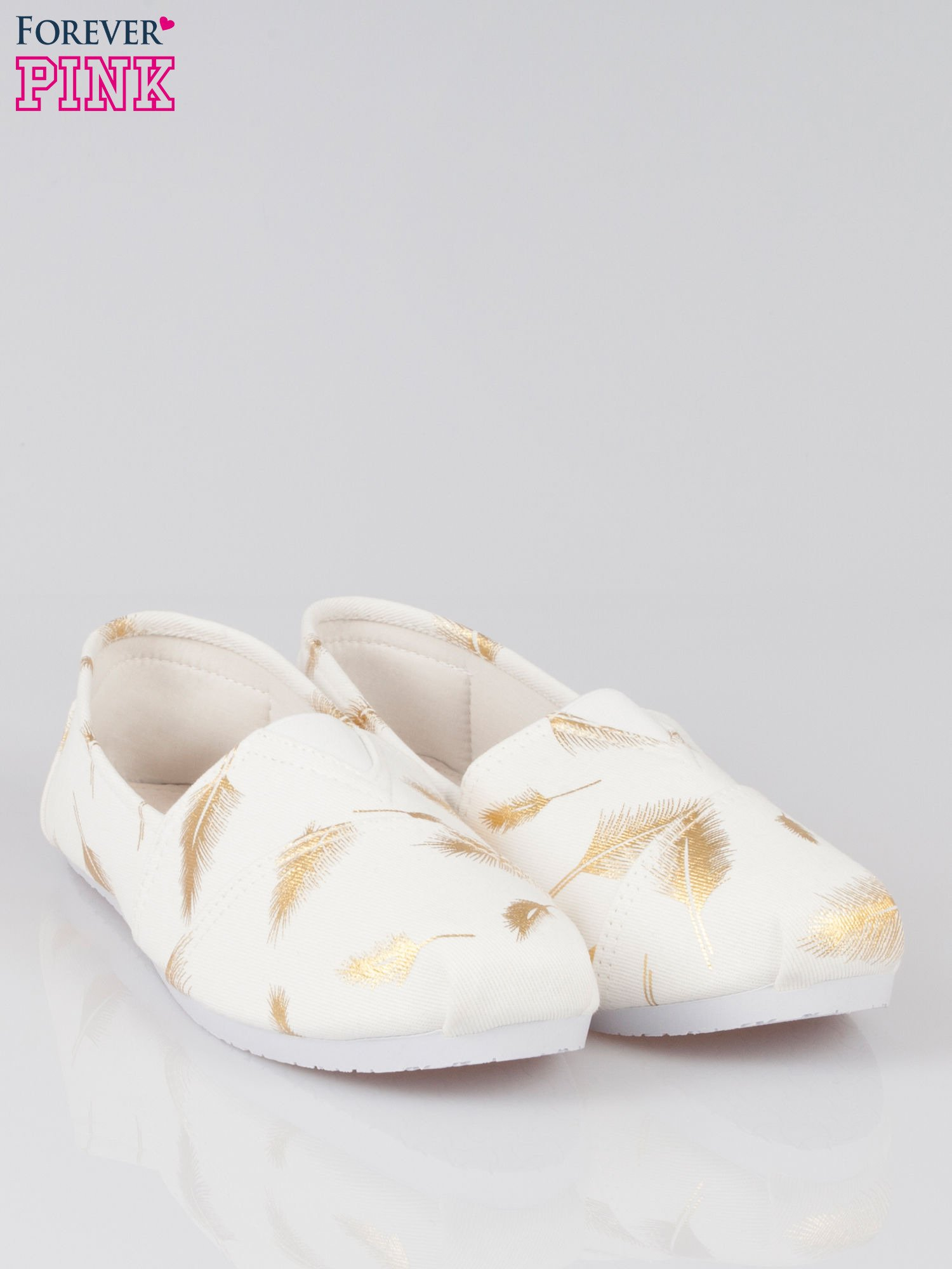 Złote buty slipon w piórka                                  zdj.                                  2