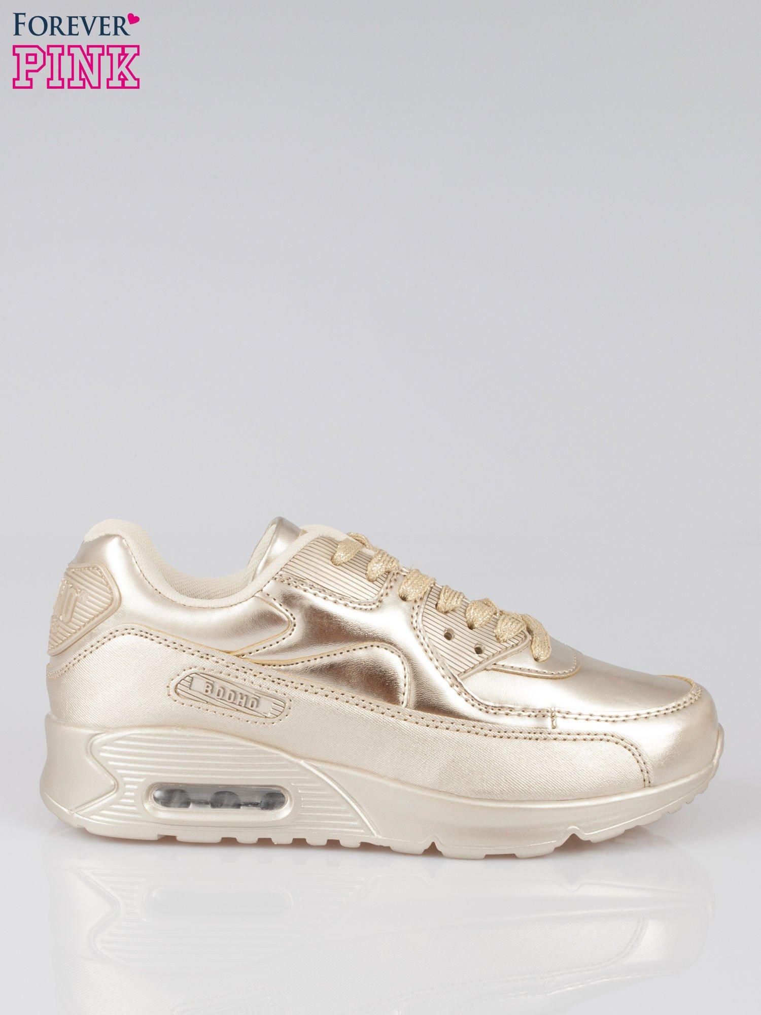 Złote buty sportowe faux leather Gigi z poduszką powietrzną w pięcie                                  zdj.                                  1
