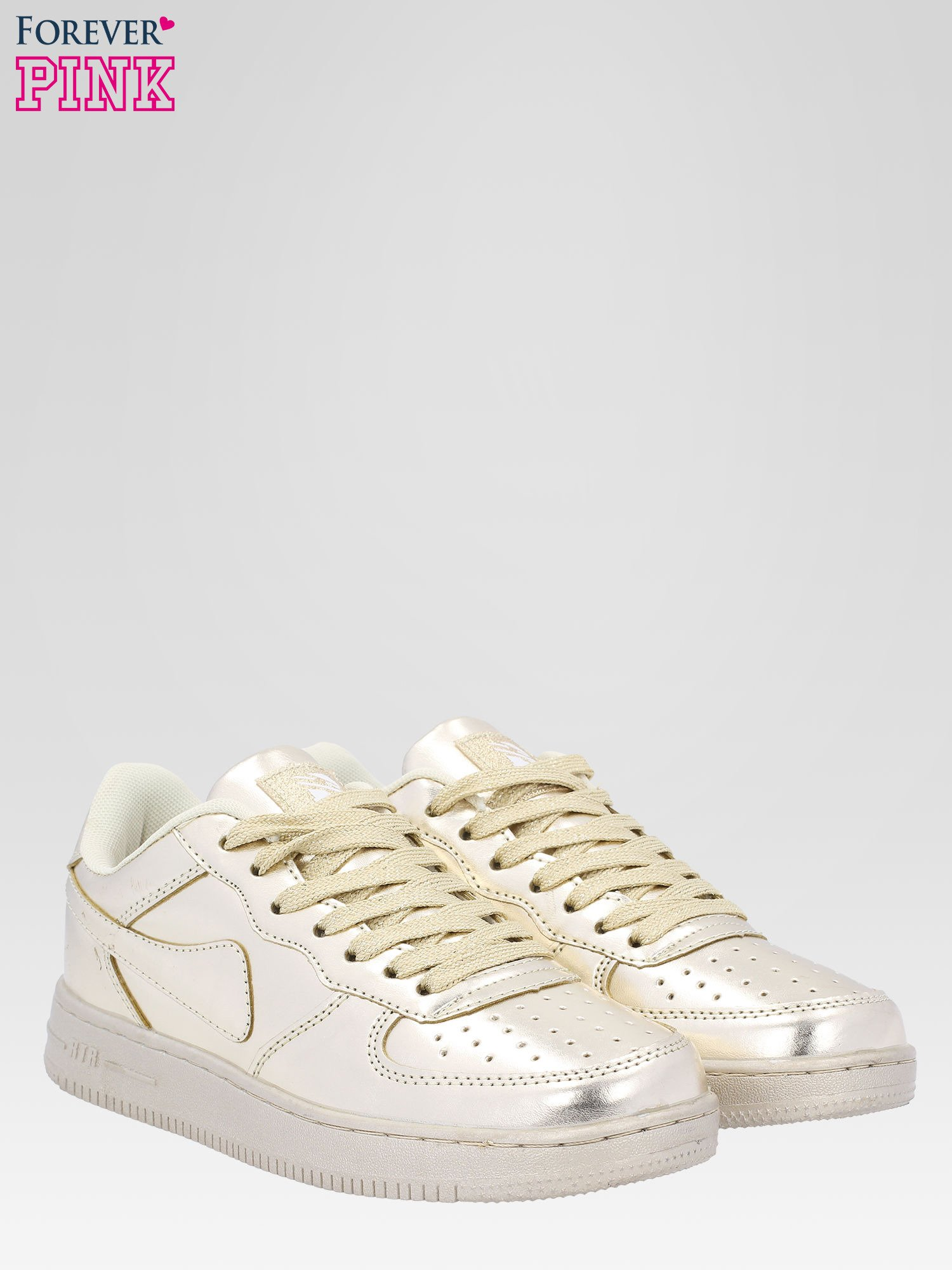Złote buty sportowe faux leather Mousse na grubej podeszwie                                  zdj.                                  2