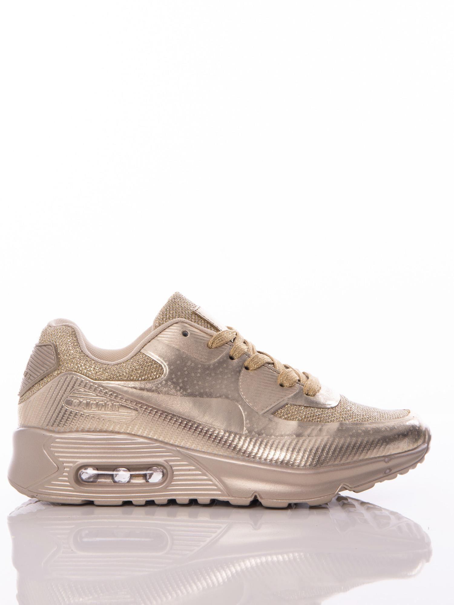 8b46f493cb388a Złote buty sportowe z poduszką powietrzną i brokatową wstawką na przodzie  ...