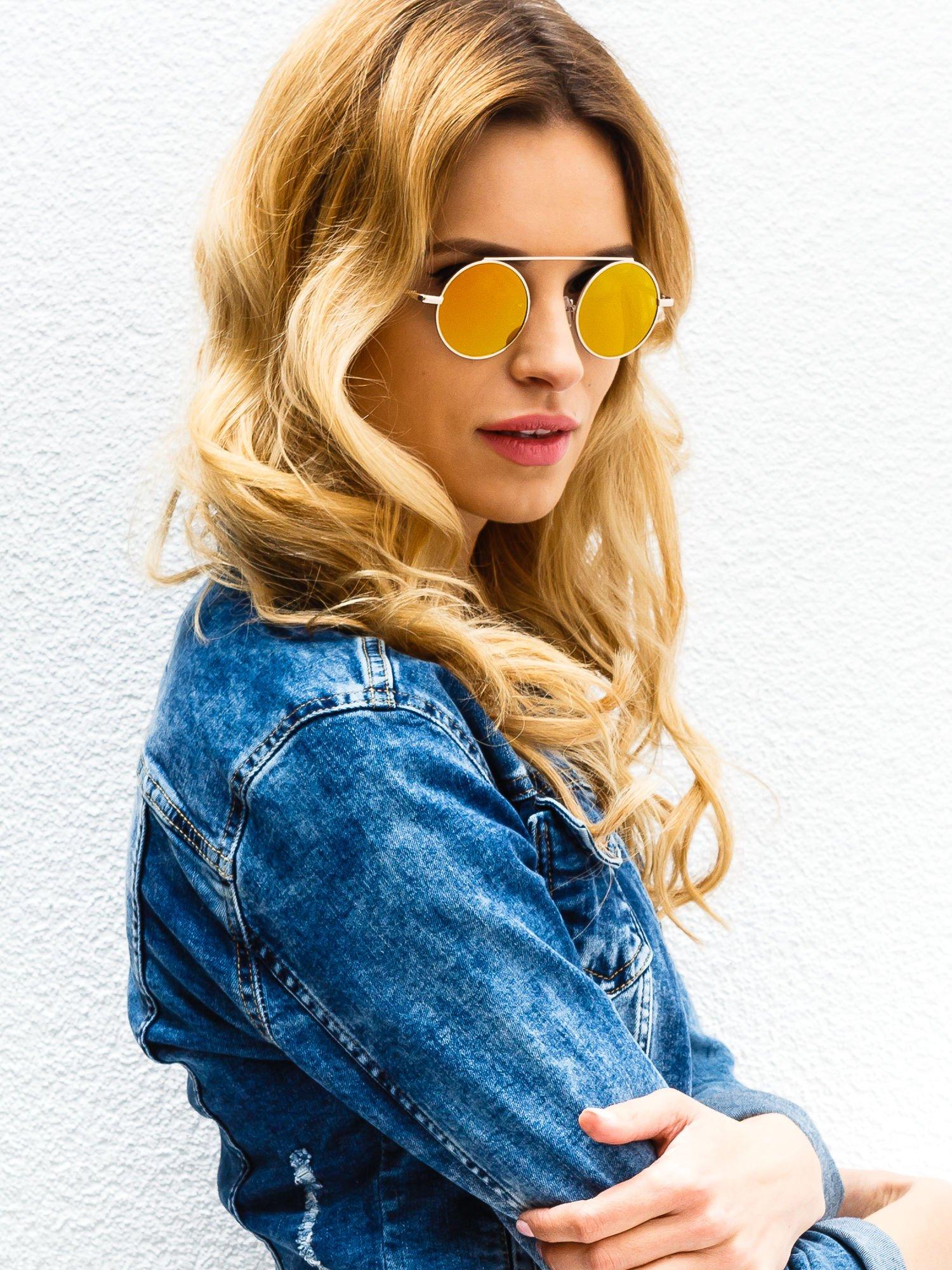 Złote okulary przeciwsłoneczne LENONKI lustrzanka                                  zdj.                                  3