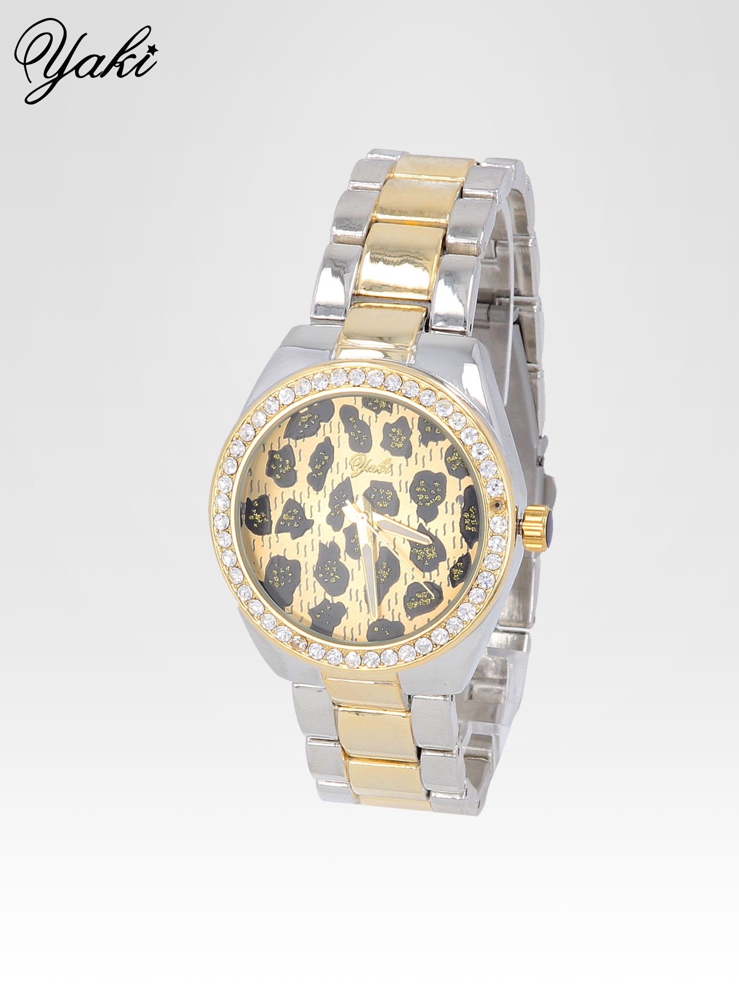 Złoto-srebrny zegarek damski na bransolecie z panterkową tarczą                                  zdj.                                  2