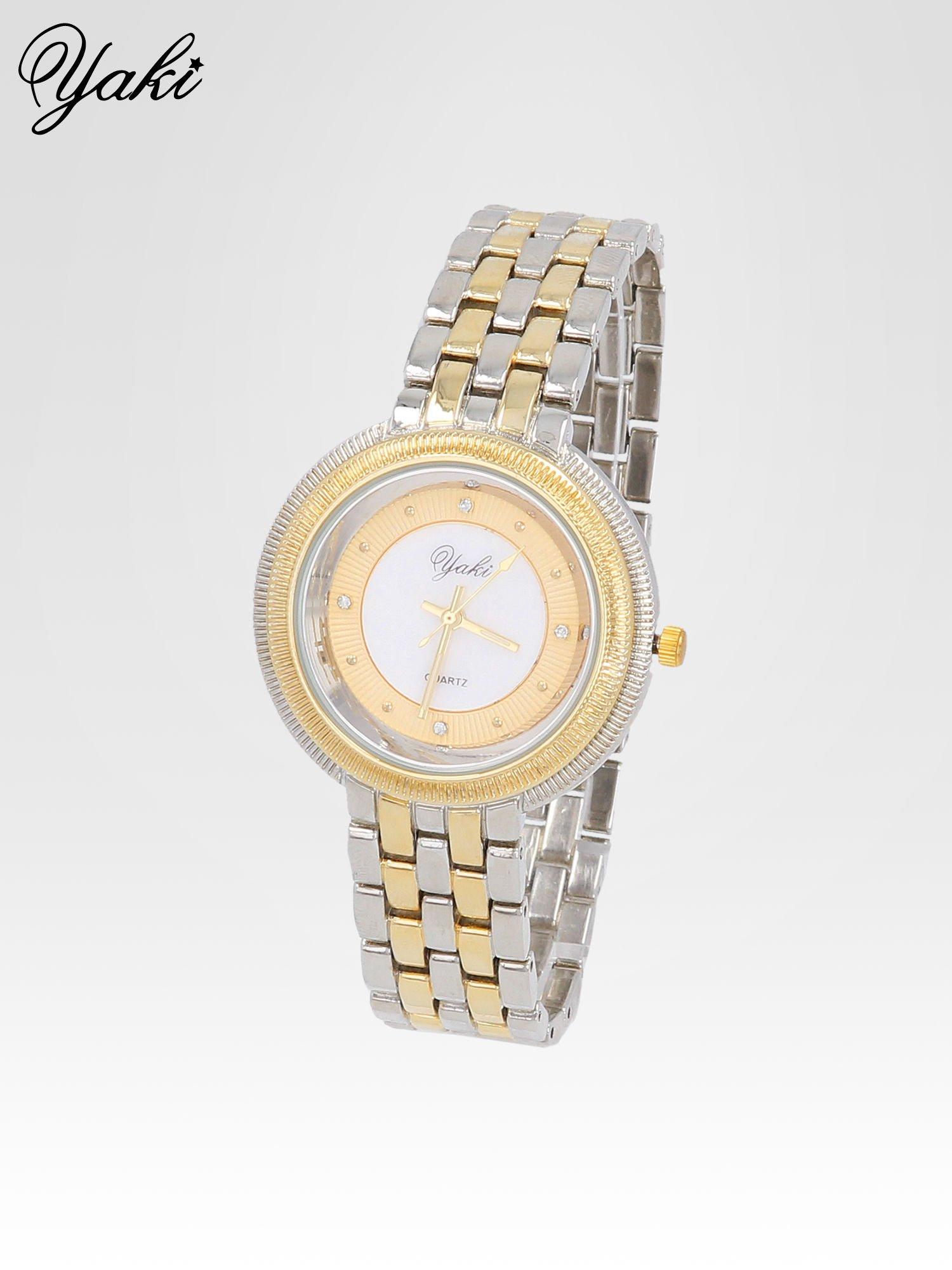 Złoto-srebrny zegarek damski z biżuteryjną kopertą                                  zdj.                                  2