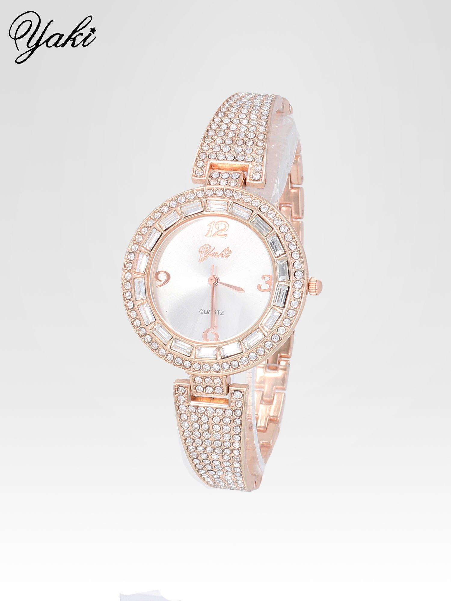 Złoty zegarek biżuteryjny z biała tarczą i cyrkoniami                                  zdj.                                  2
