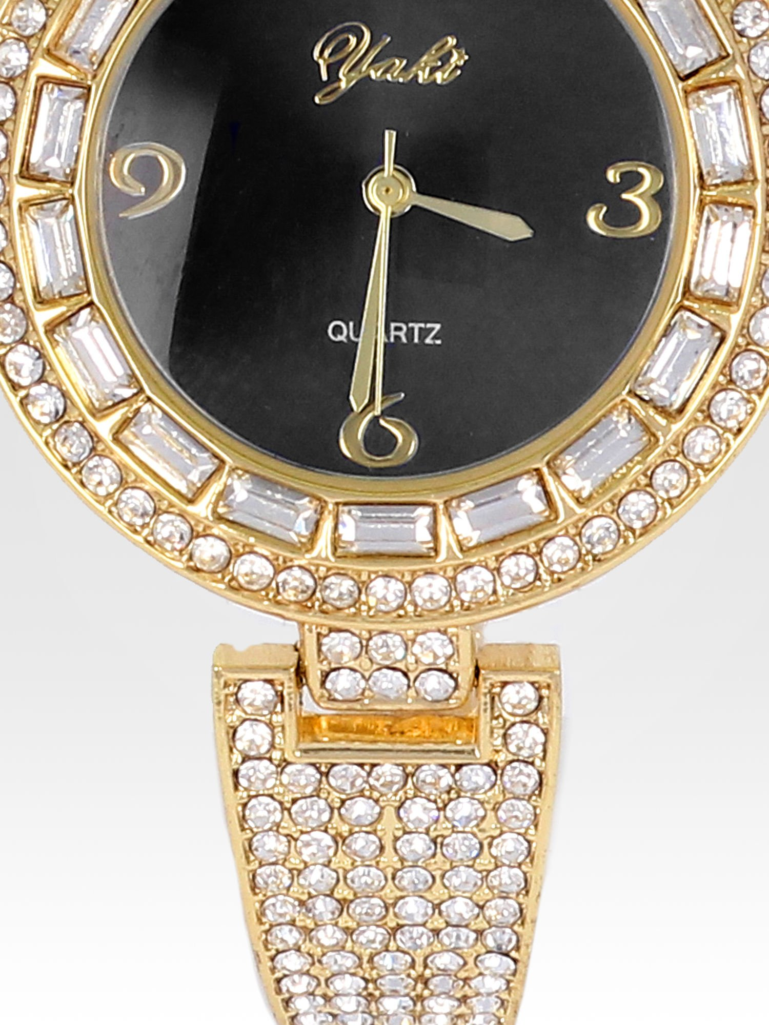 Złoty zegarek biżuteryjny z czarną tarczą i cyrkoniami                                  zdj.                                  5