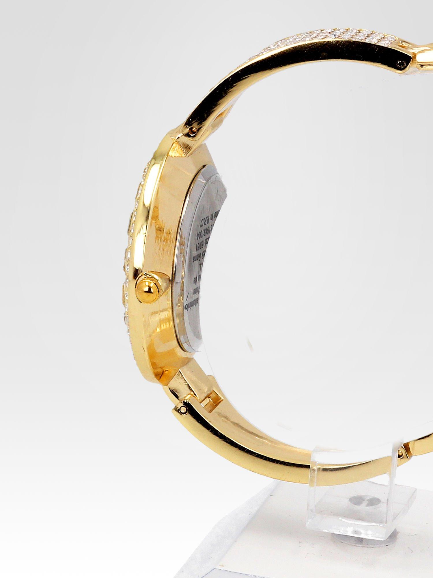 Złoty zegarek biżuteryjny z czarną tarczą i cyrkoniami                                  zdj.                                  3