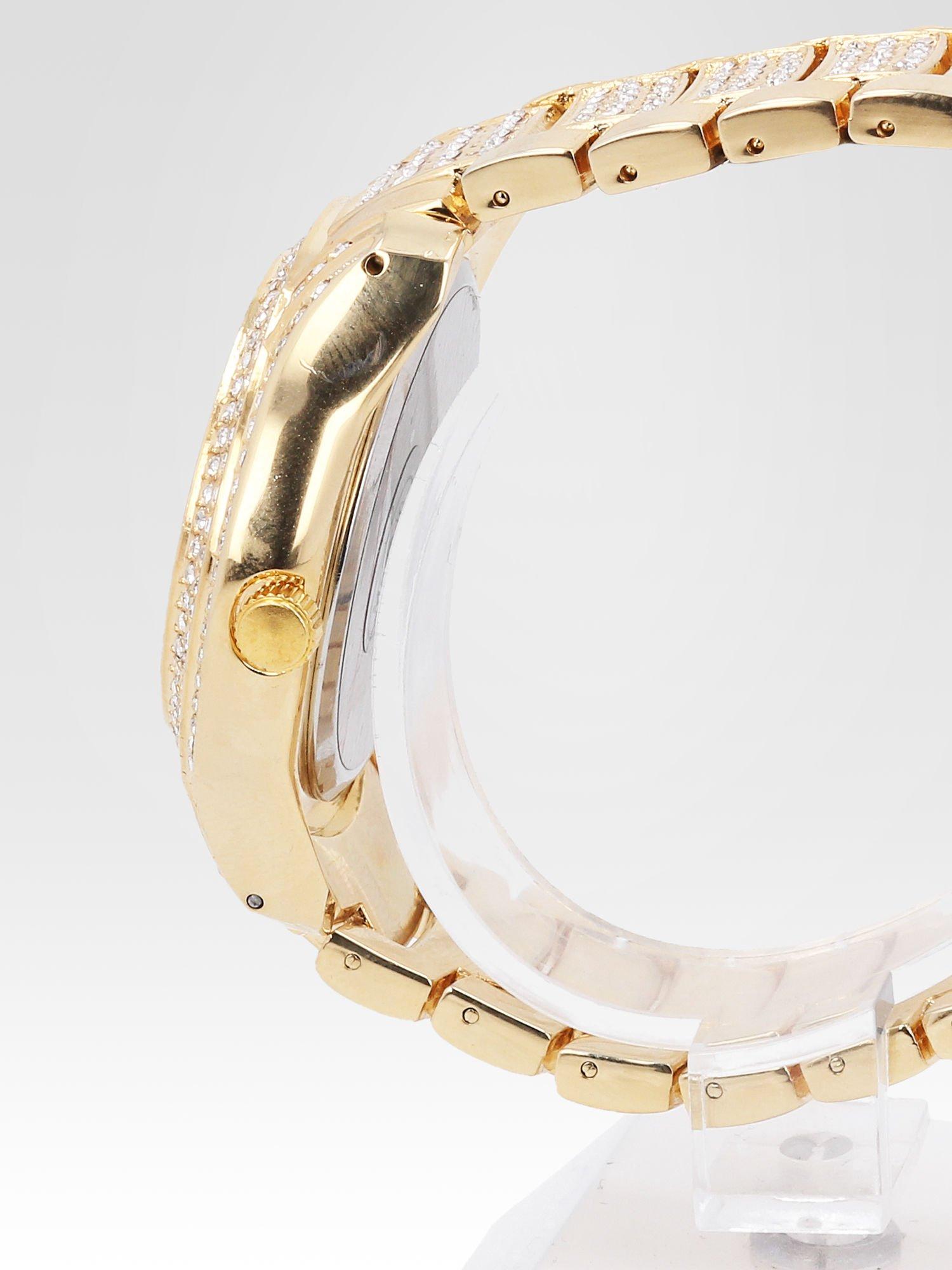 Złoty zegarek damski na bransolecie wysadzany cyrkoniami                                  zdj.                                  3