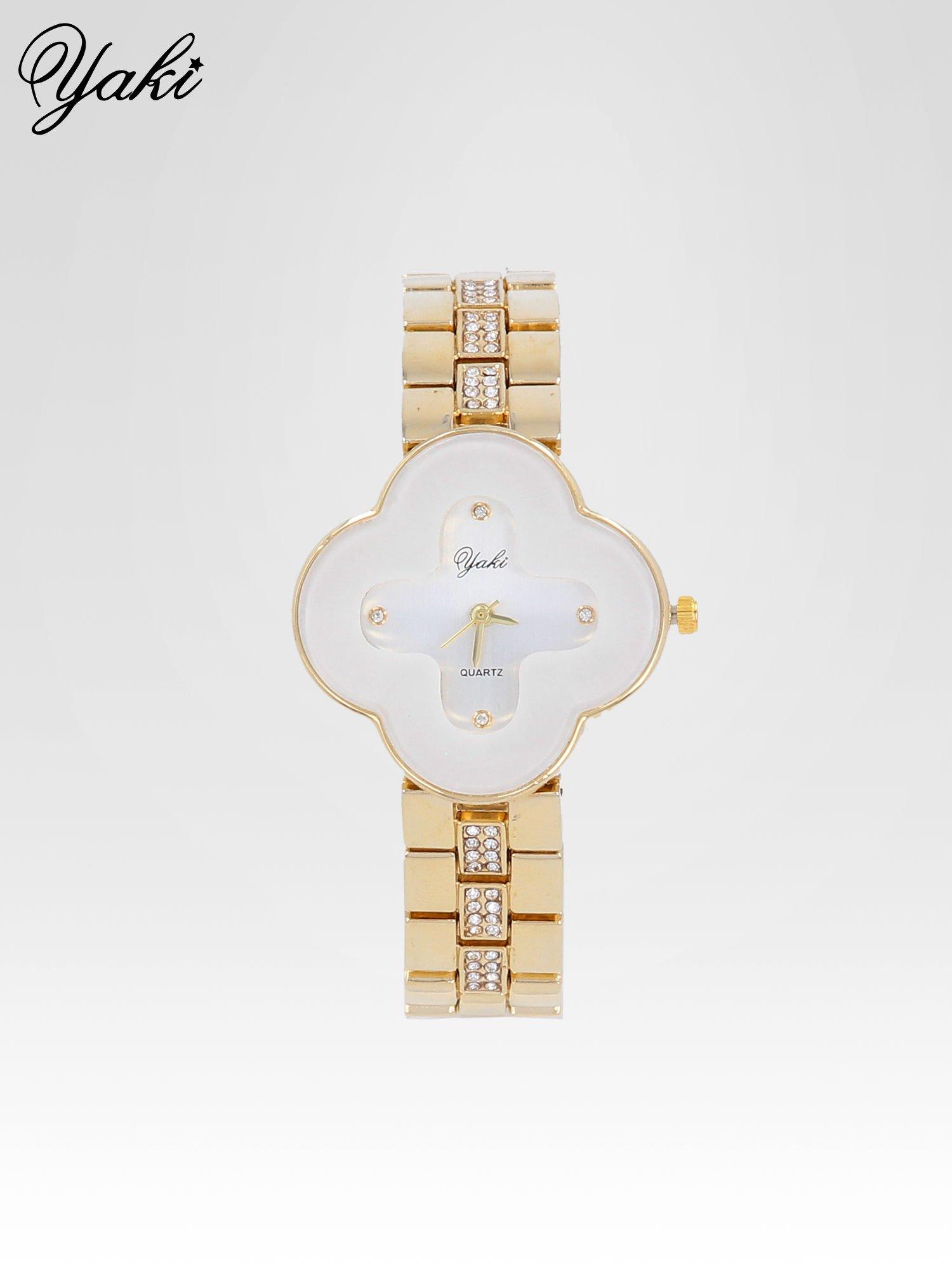 Złoty zegarek damski na bransolecie z biała tarczą koniczyną                                  zdj.                                  1