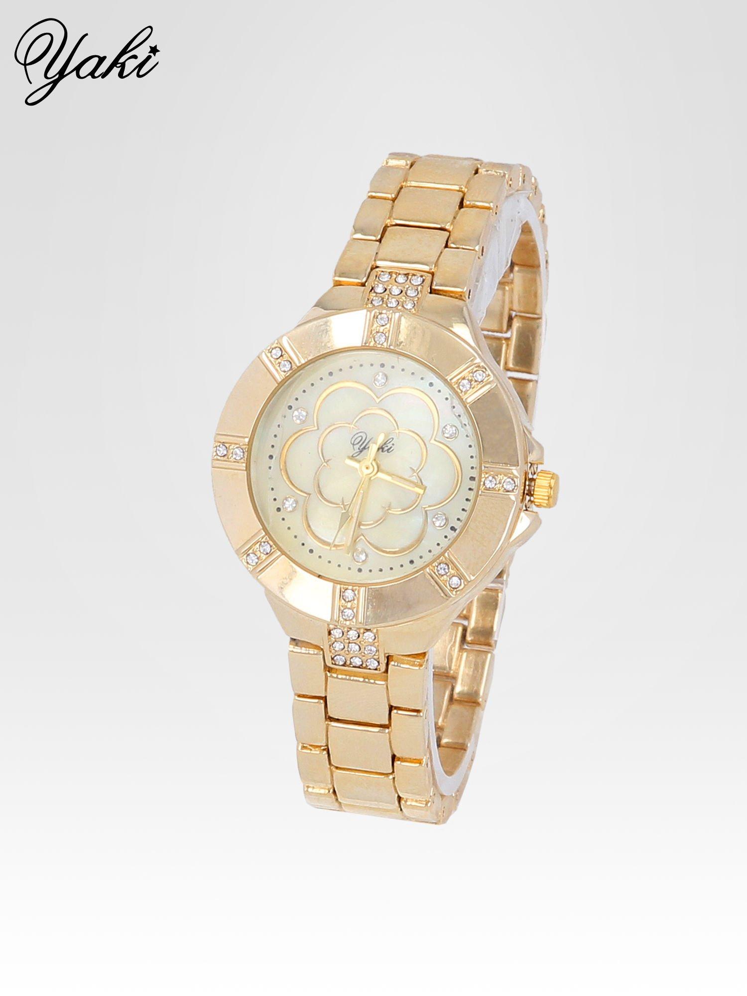 Złoty zegarek damski na bransolecie z cyrkoniami                                  zdj.                                  2