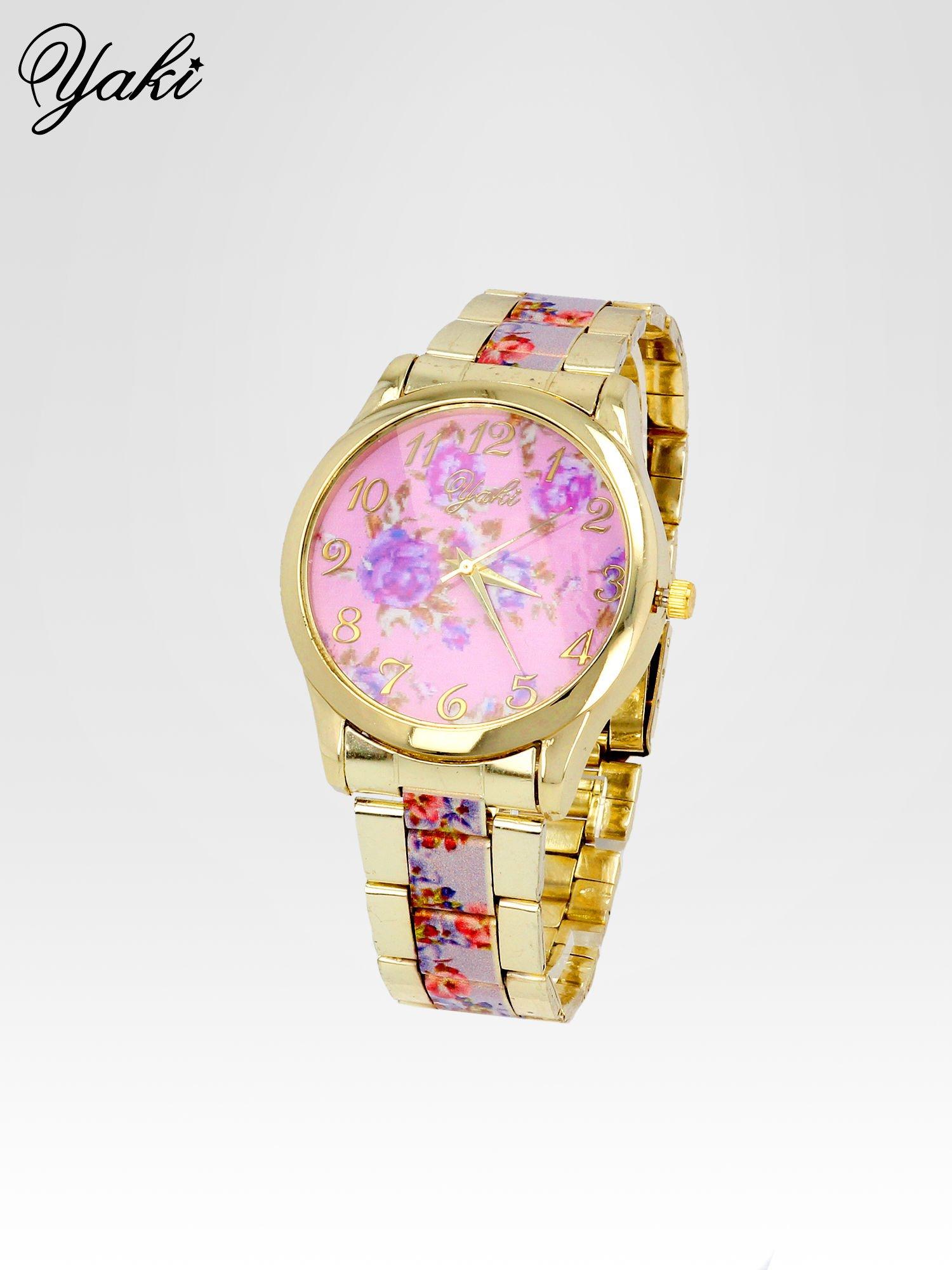 Złoty zegarek damski na bransolecie z jasnoóżowym motywem kwiatowym                                  zdj.                                  2