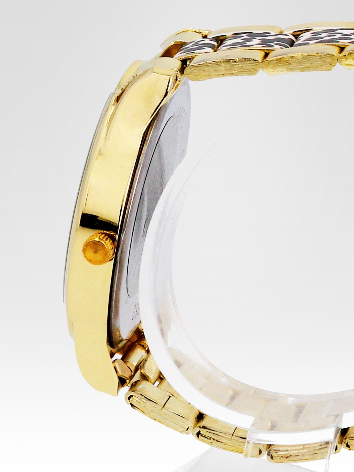 Złoty zegarek damski na bransolecie z motywem panterkowym                                  zdj.                                  3