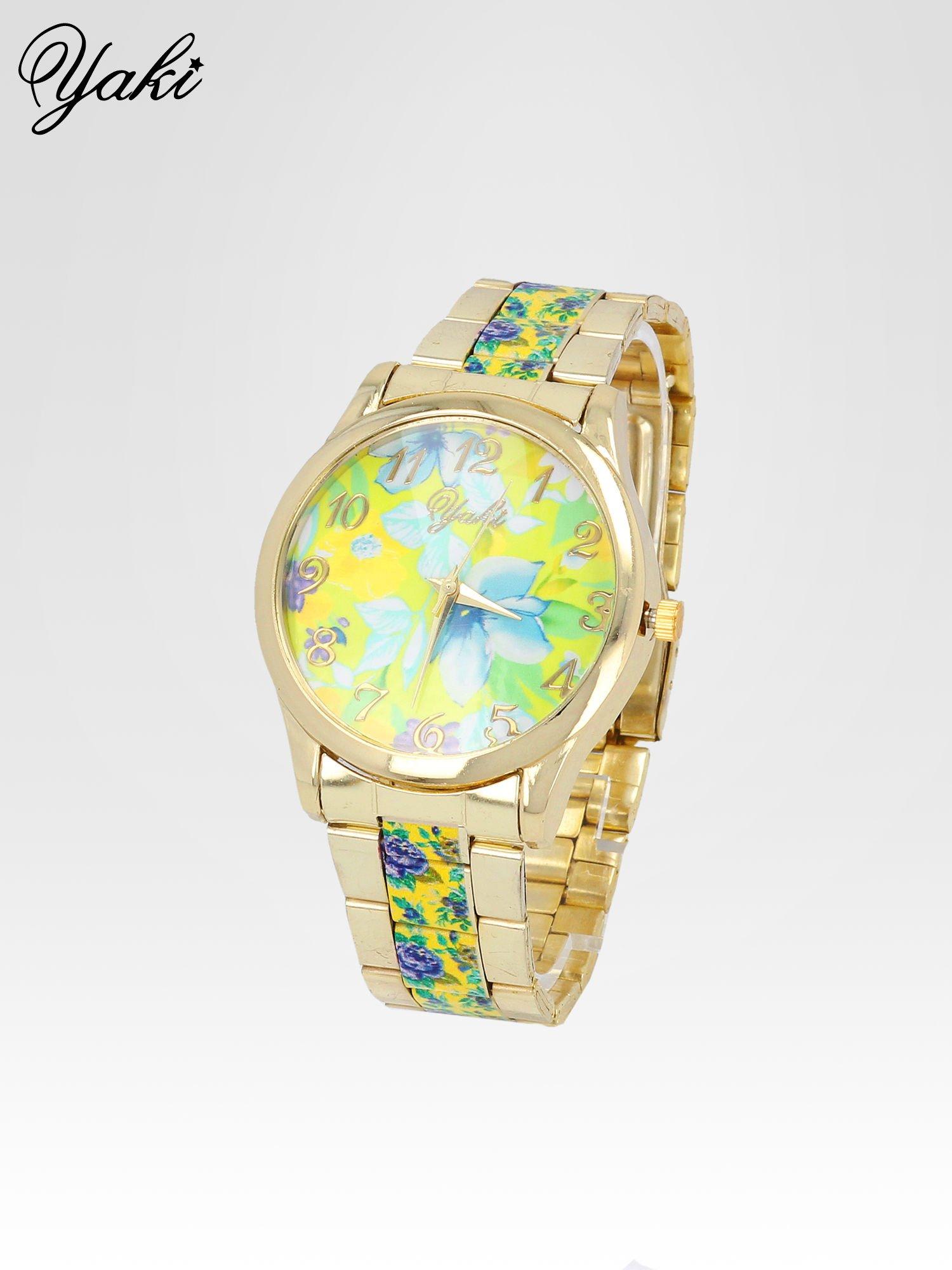 Złoty zegarek damski na bransolecie z żółtym motywem kwiatowym                                  zdj.                                  2