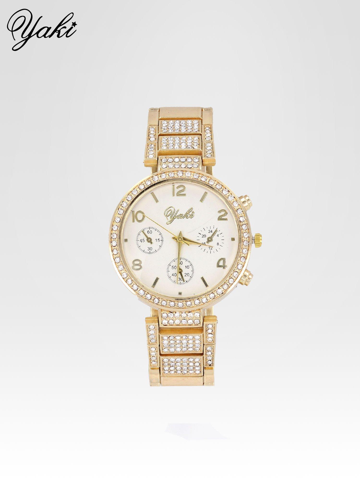 Złoty zegarek damski na cyrkoniowej bransolecie                                  zdj.                                  1