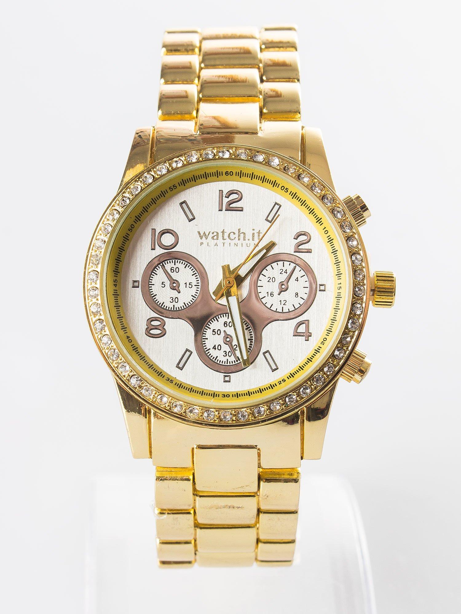 0aa766225a359f Złoty zegarek na bransolecie z cyrkoniami i srebrną tarczą ...