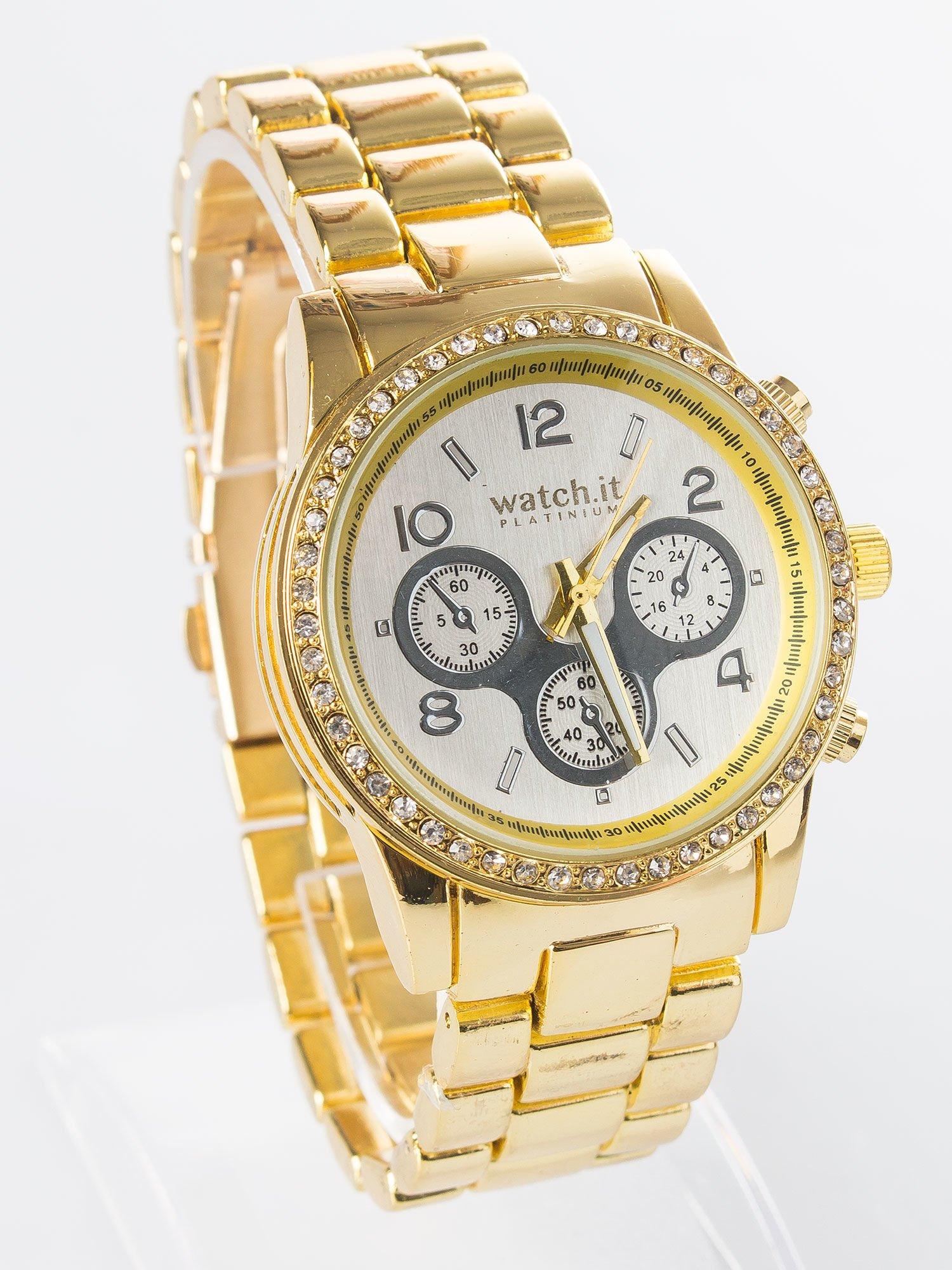 9f5694659ad912 Złoty zegarek na bransolecie z cyrkoniami i srebrną tarczą - Akcesoria  zegarek - sklep eButik.pl