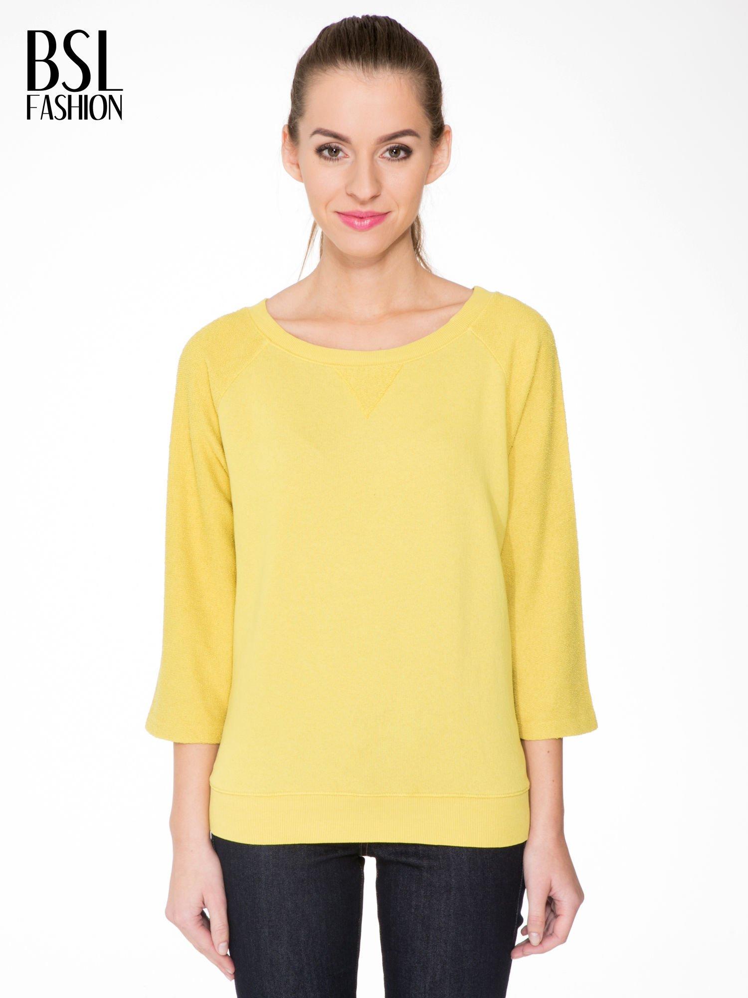 Żółta bluza oversize z łączonych materiałów                                  zdj.                                  1