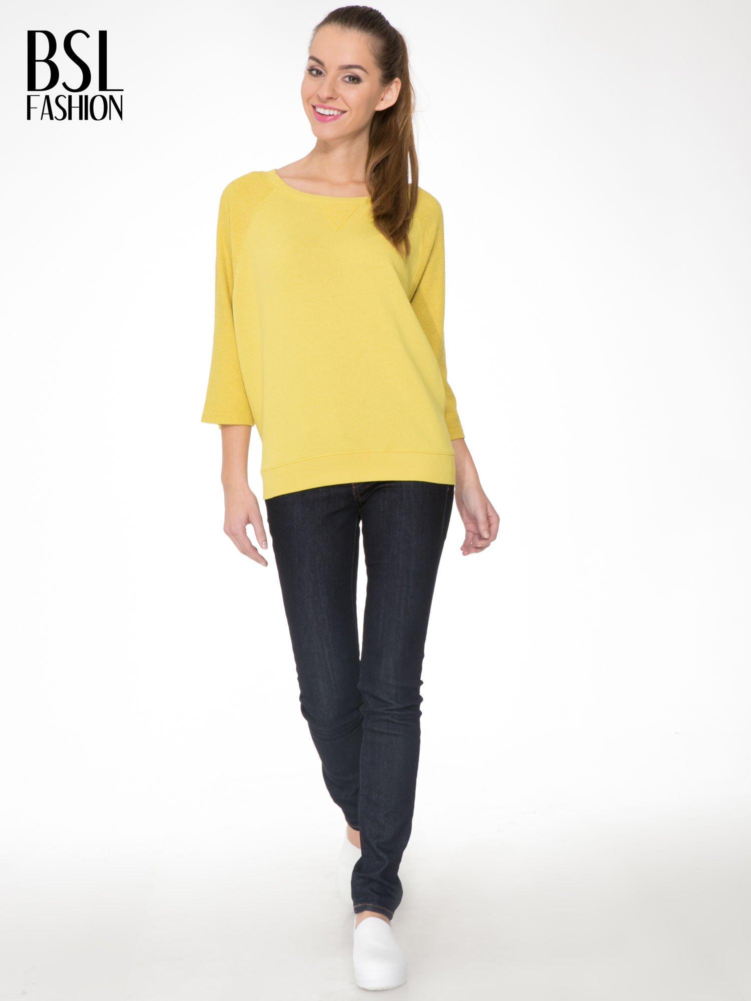 Żółta bluza oversize z łączonych materiałów                                  zdj.                                  2