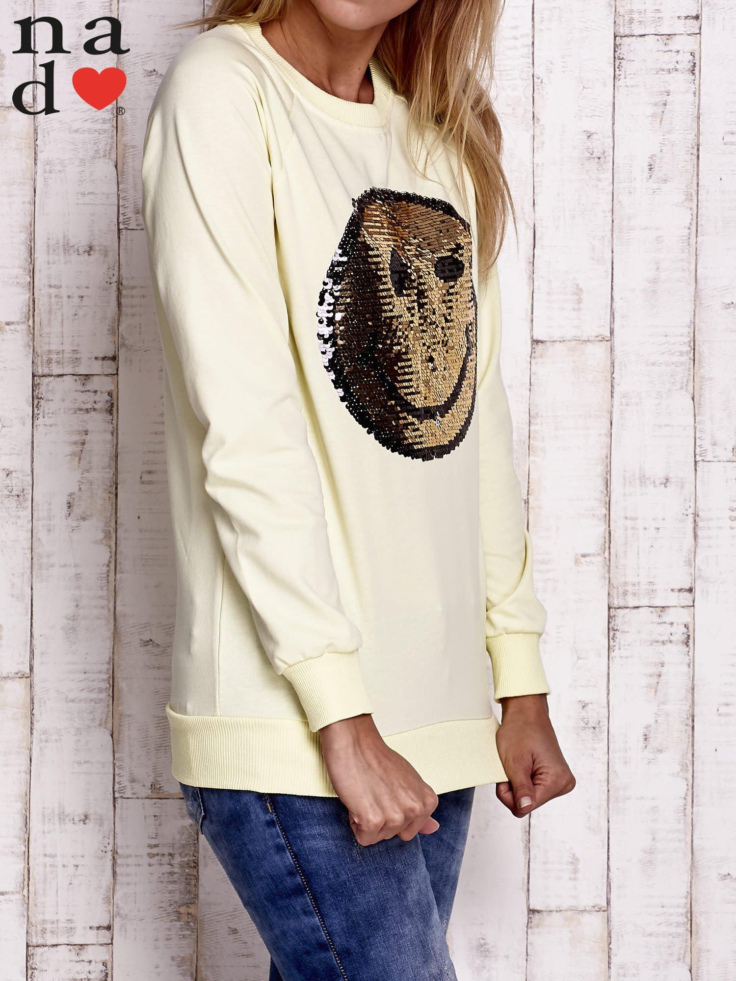 Żółta bluza z dwustronną naszywką z cekinów                                  zdj.                                  3
