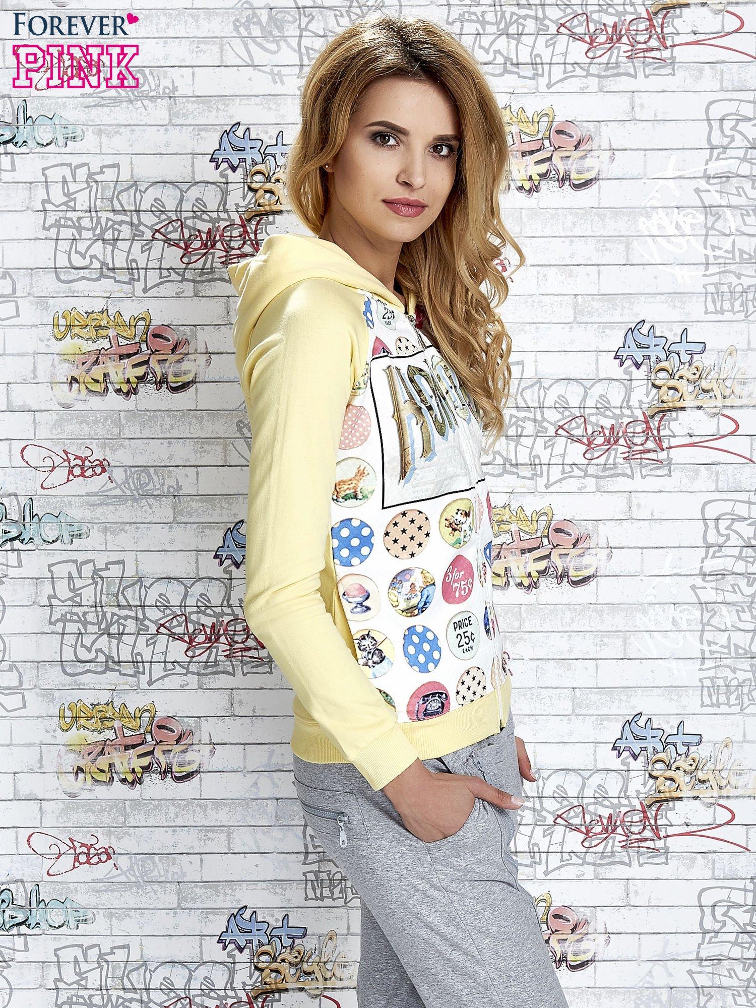 Żółta bluza z kapturem i napisem HONOUR                                  zdj.                                  3