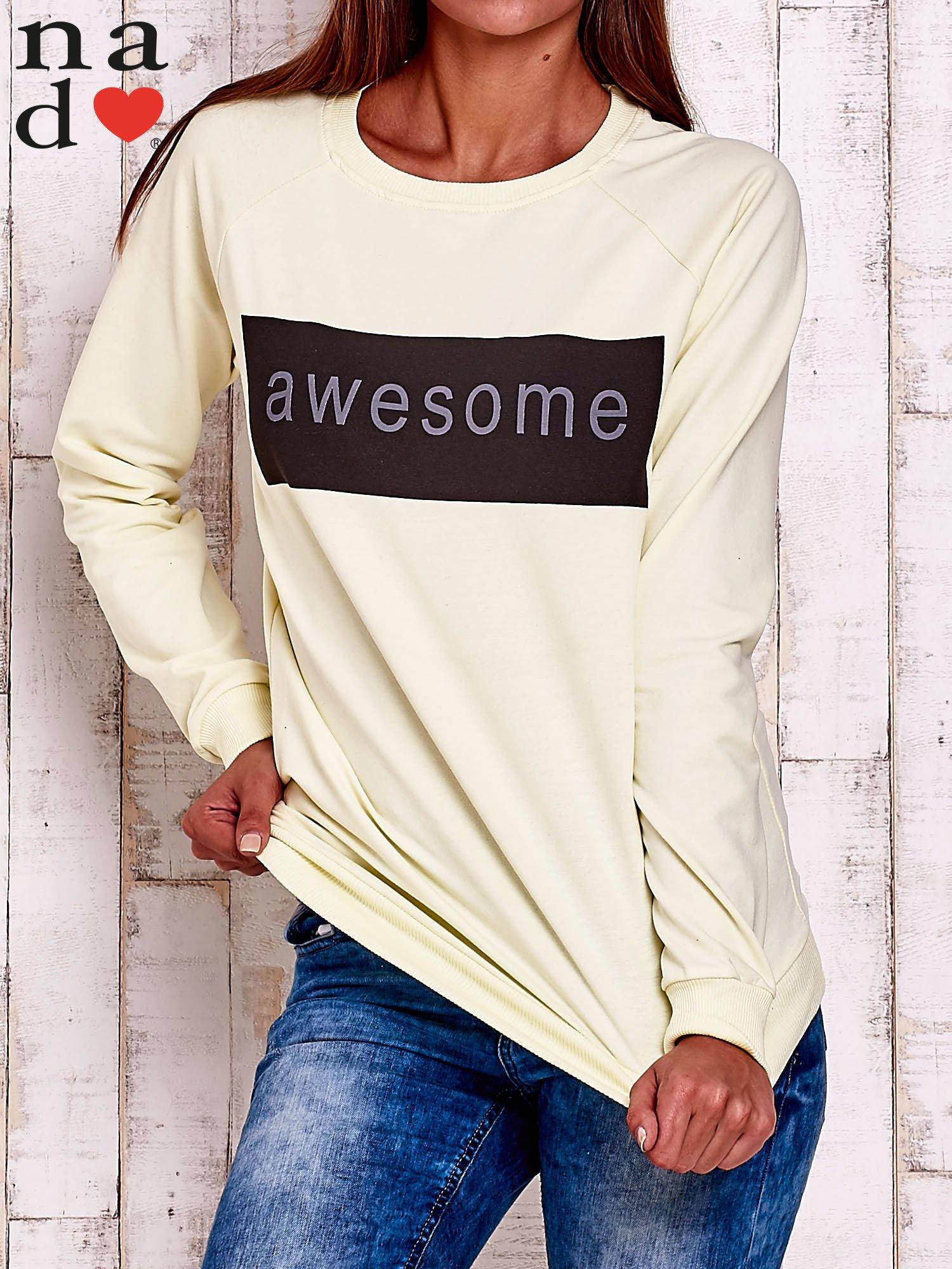Żółta bluza z napisem AWESOME                                  zdj.                                  1