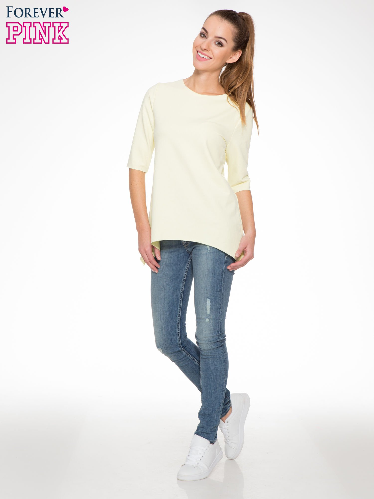 Żółta bluza z wydłużanymi bokami                                  zdj.                                  2
