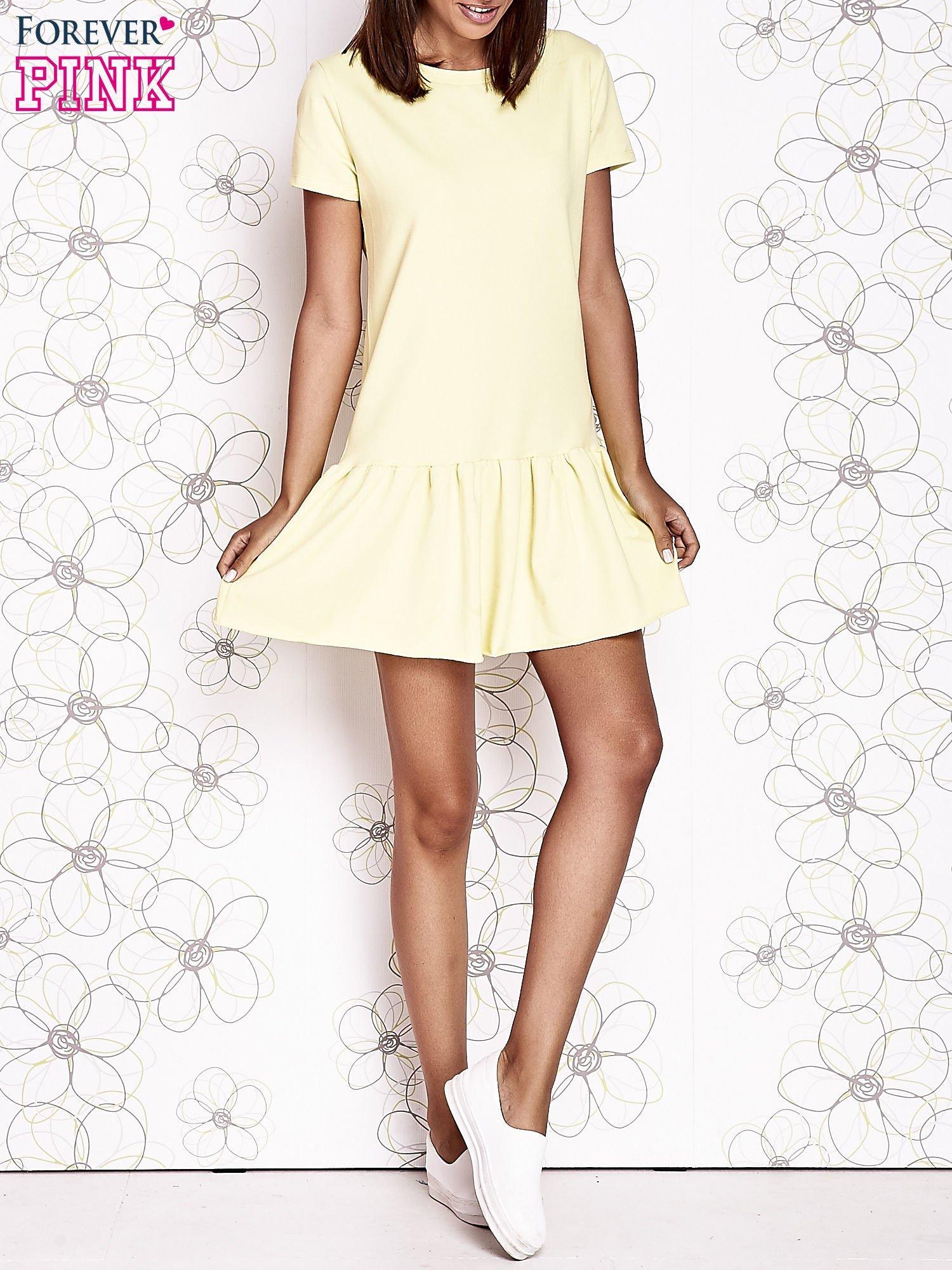 Żółta dresowa sukienka z wycięciem na plecach                                   zdj.                                  6