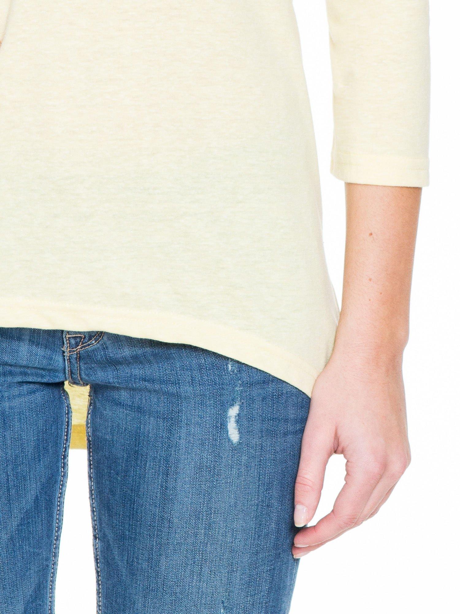 Żółta gładka bluzka z dłuższym tyłem                                  zdj.                                  6