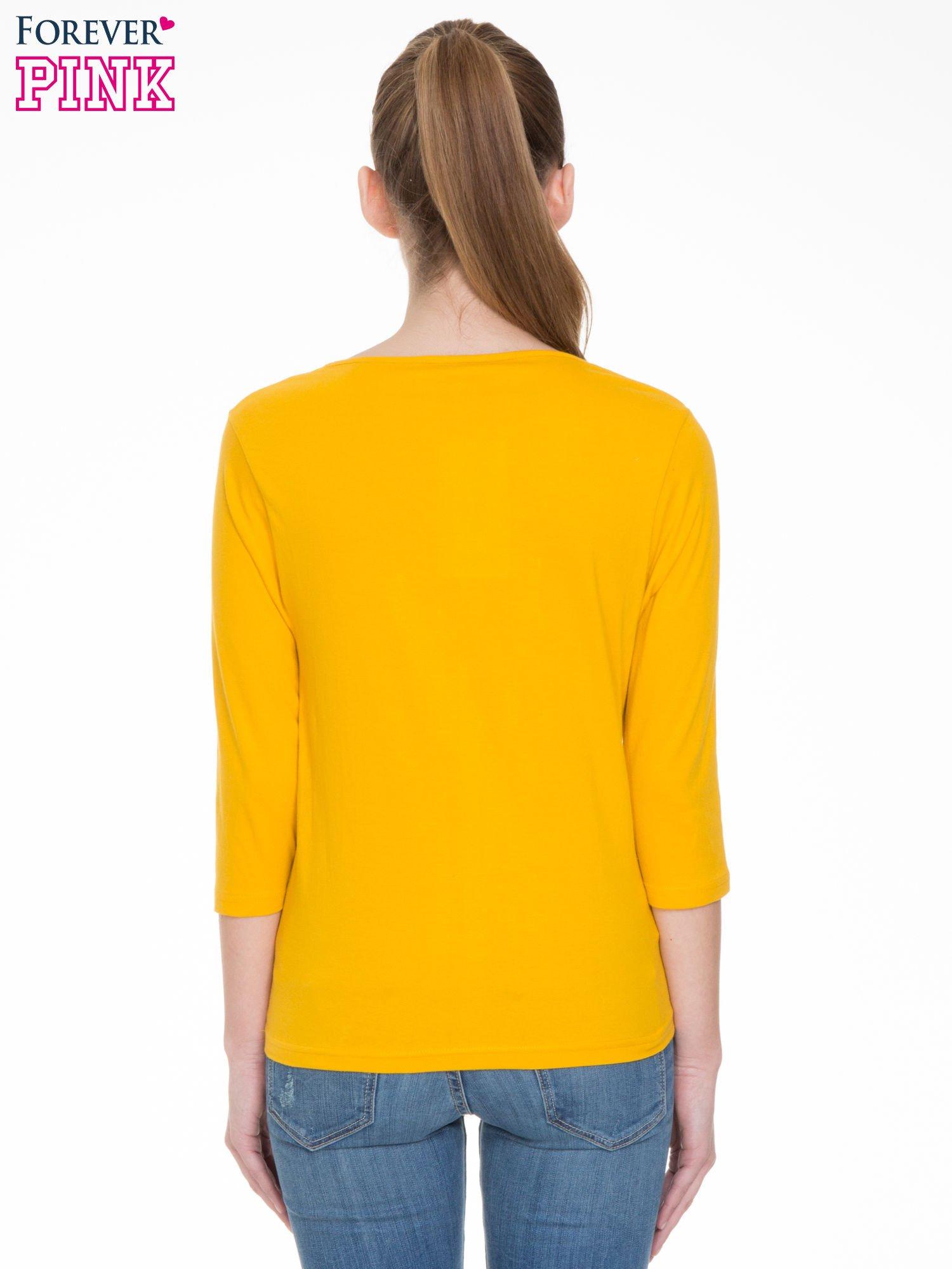 Żółta gładka bluzka z rękawem 3/4                                  zdj.                                  6