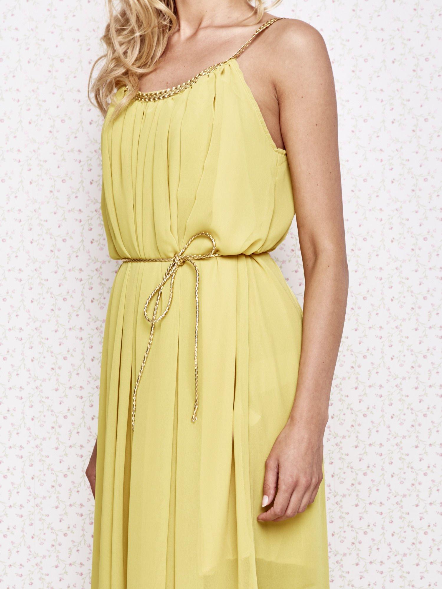 Żółta grecka sukienka ze złotym paskiem                                  zdj.                                  5