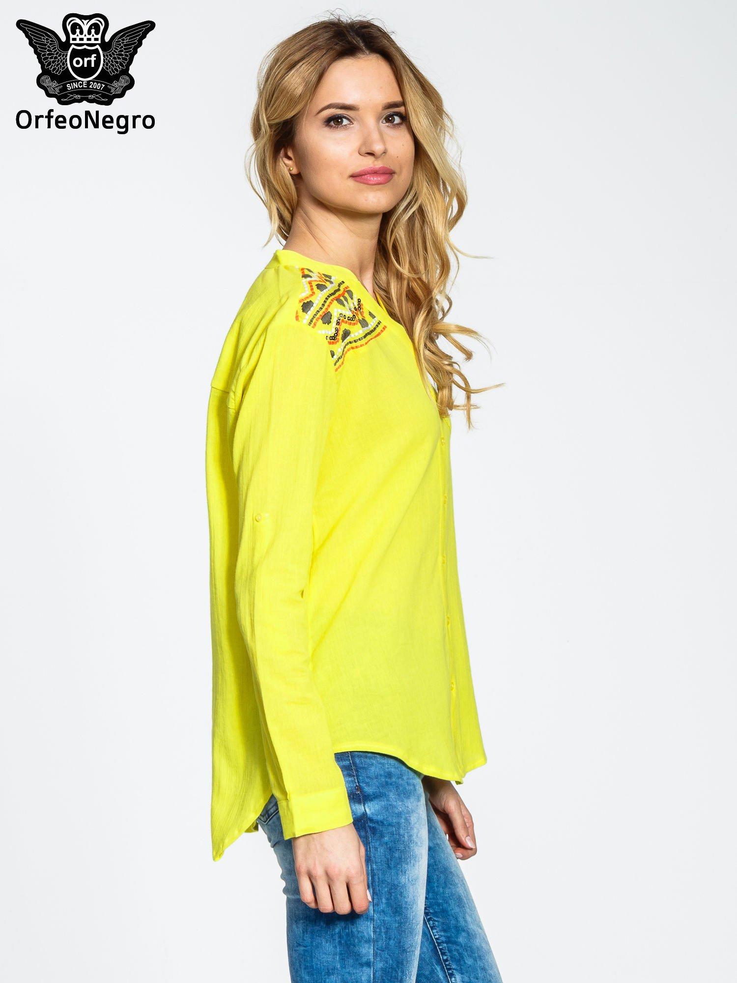 Żółta koszula z haftem w azteckie wzory                                  zdj.                                  4