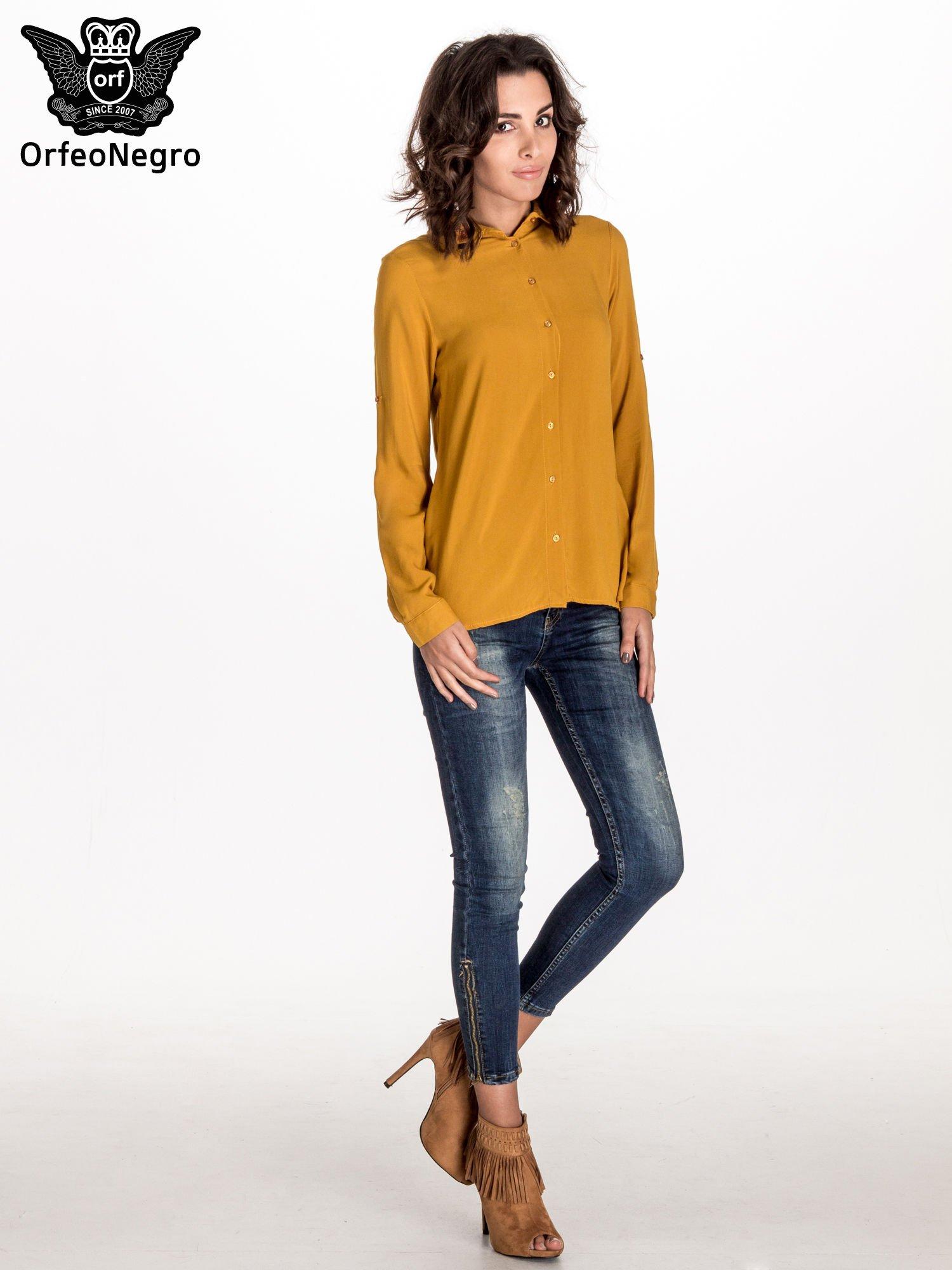 Zółta koszula z haftowanym kołnierzykiem                                  zdj.                                  2