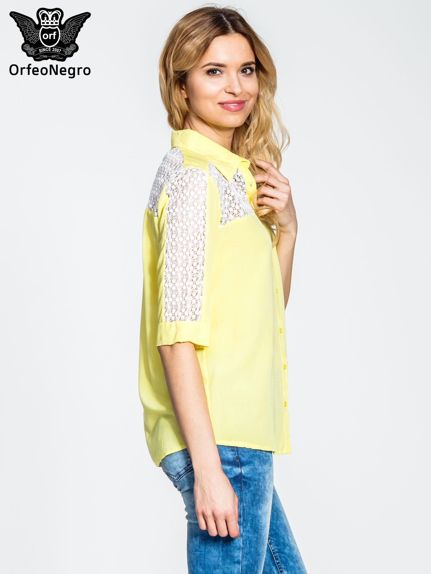 Żółta koszula z rękawem do łokcia i koronką                                  zdj.                                  3