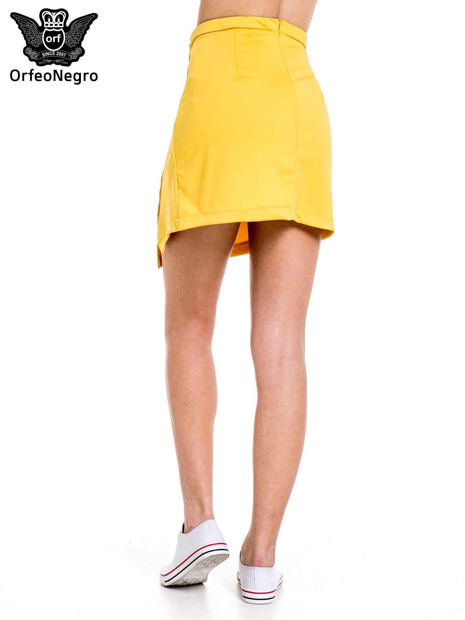 Żółta minispódnica z asymetrycznym suwakiem                                  zdj.                                  4