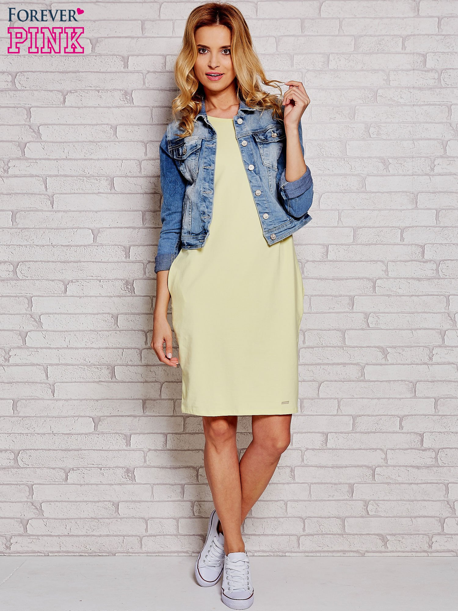 Żółta prosta sukienka dresowa                                  zdj.                                  2