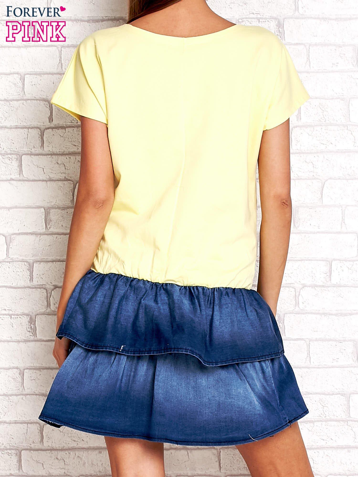 Żółta sukienka dresowa z jeansowym dołem                                  zdj.                                  2