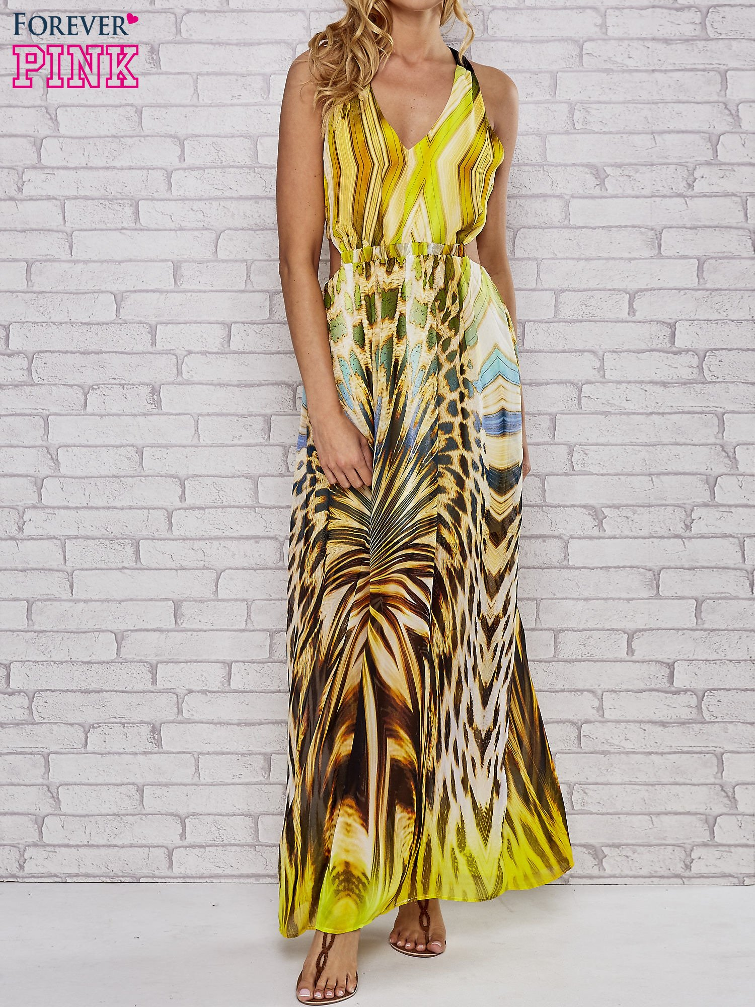 Żółta sukienka maxi z odkrytymi plecami                                  zdj.                                  1