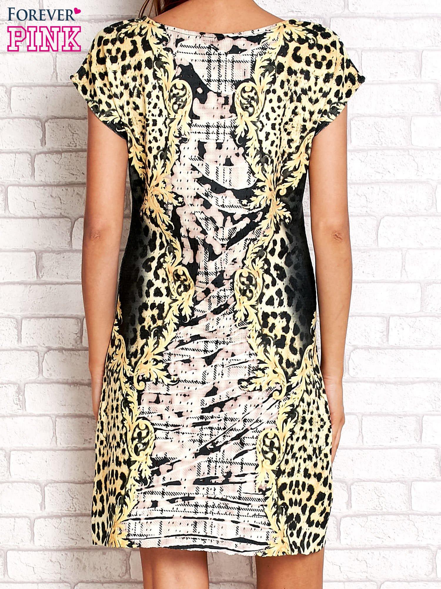 Żółta sukienka z tygrysim nadrukiem                                  zdj.                                  2