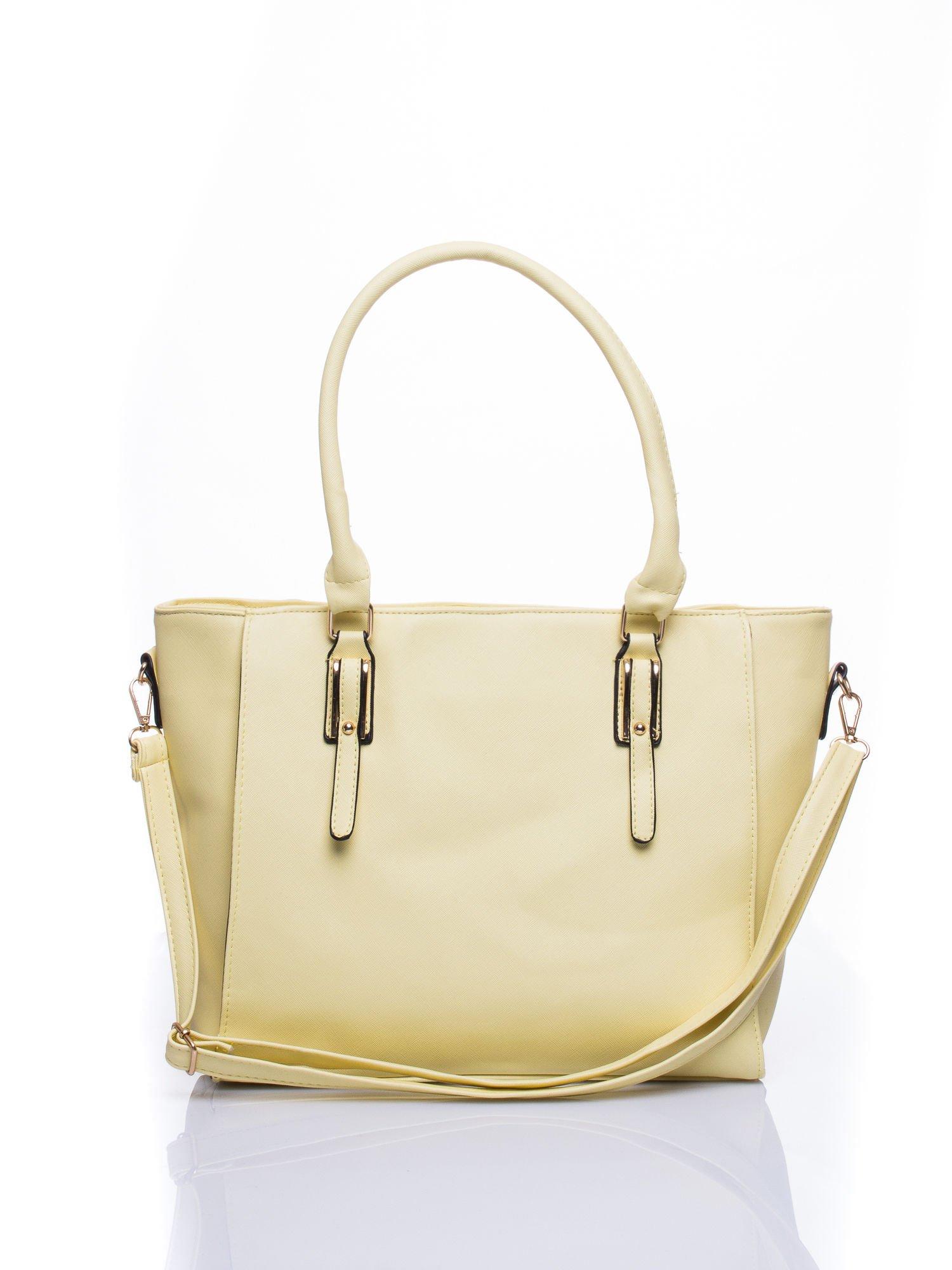 Żółta torba shopper bag z odpinanym paskiem                                  zdj.                                  1