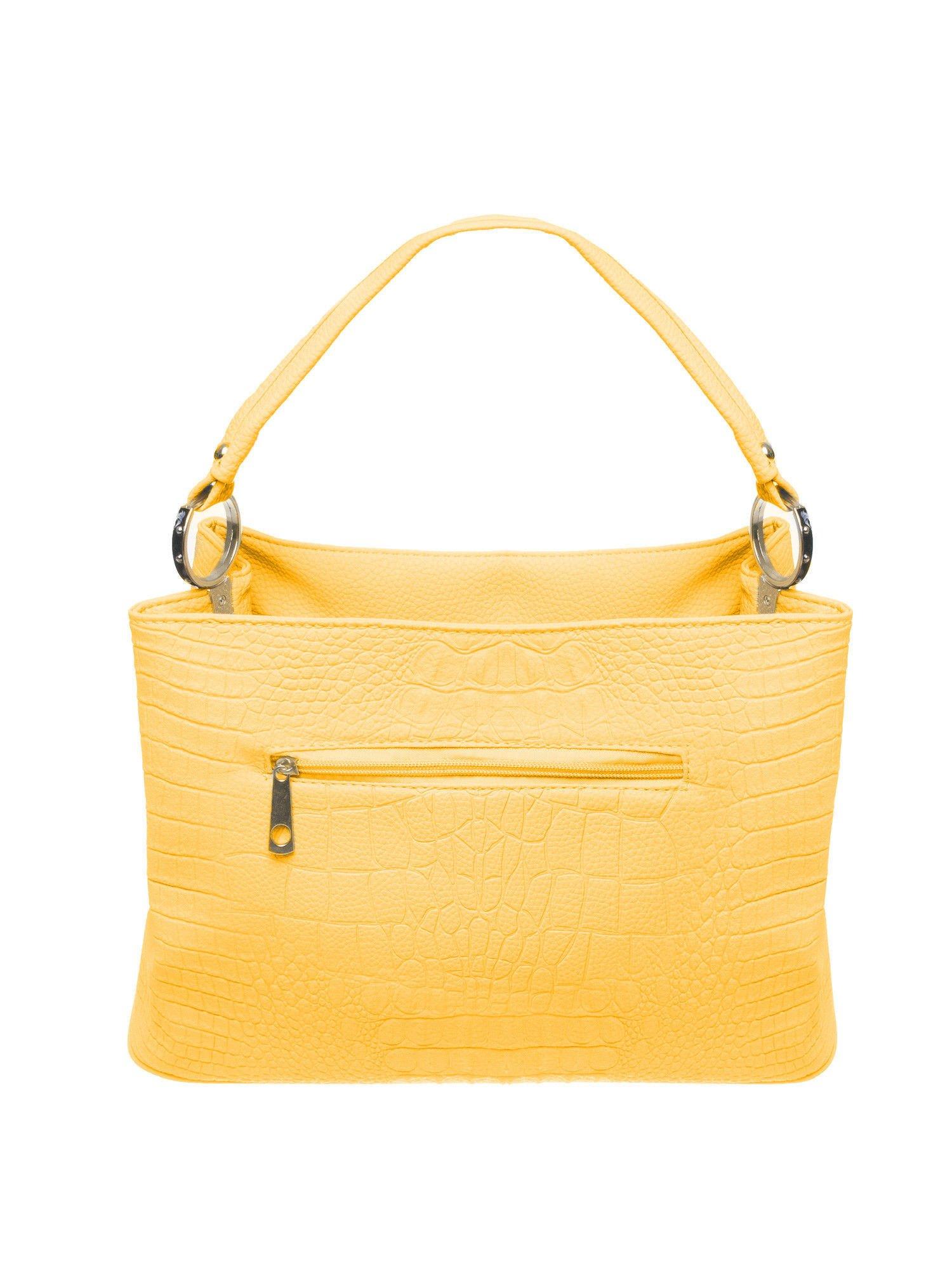 36b6dae62e9a3 Żółta torebka na ramię tłoczona na wzór skóry krokodyla - Akcesoria ...