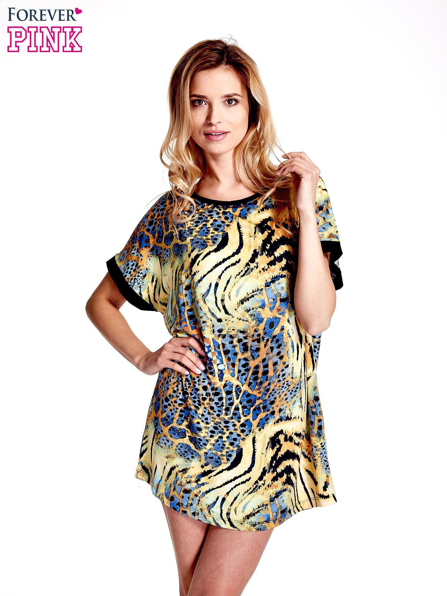 Żółta tunika z tygrysim nadrukiem                                  zdj.                                  1