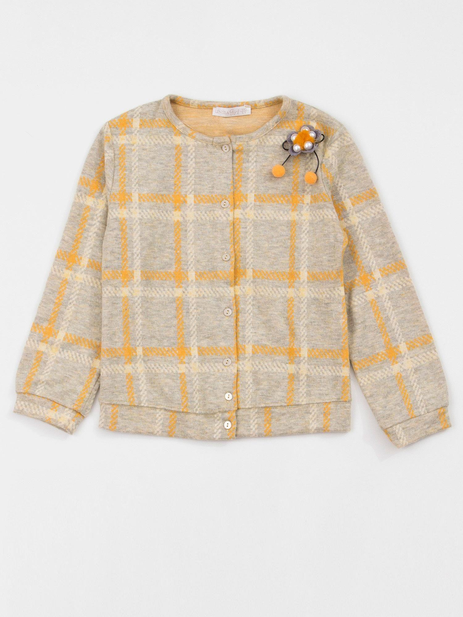 483ecf87cf Żółto-szary sweter dziecięcy w kratkę - Dziecko Dziewczynka - sklep ...