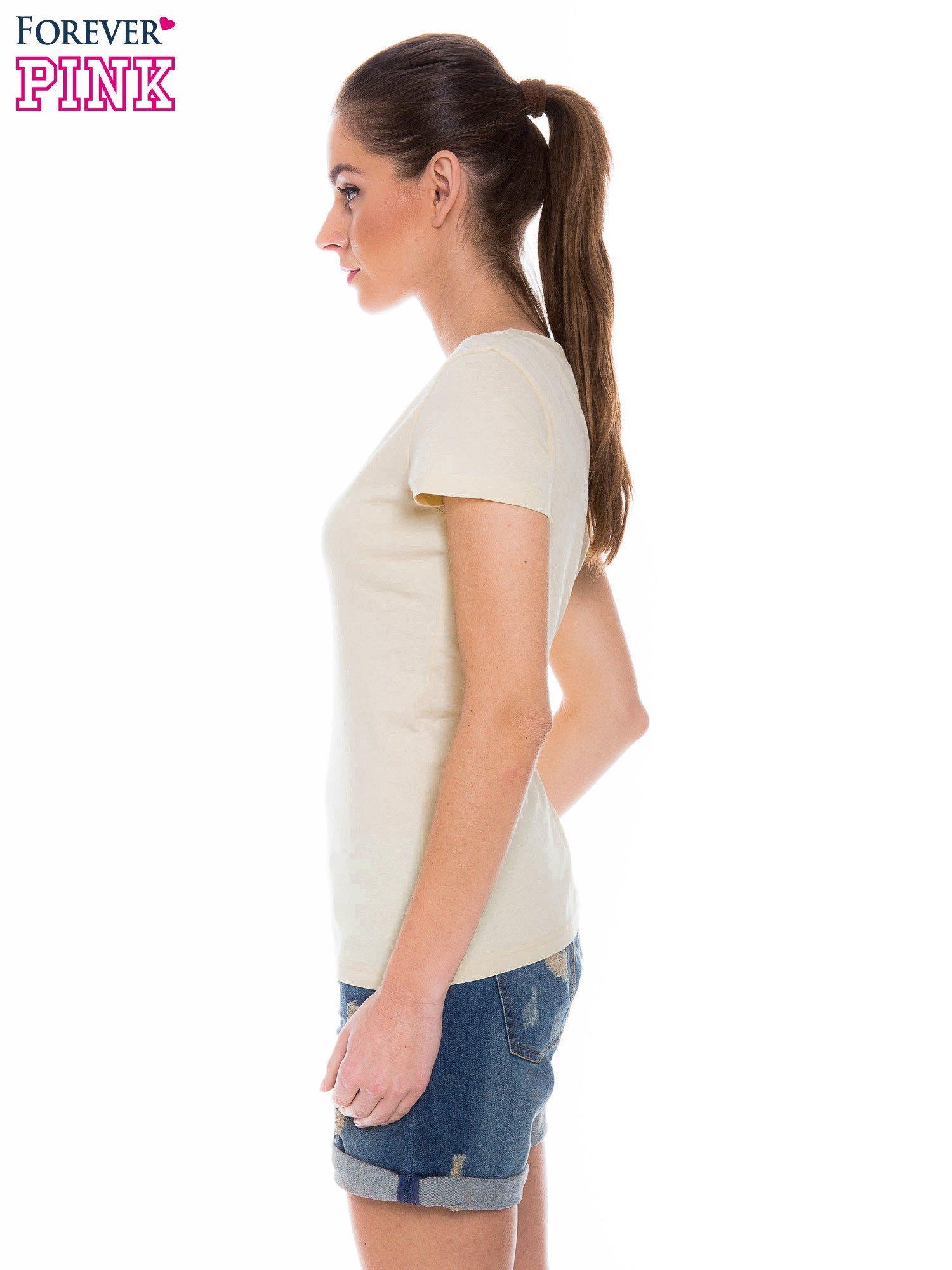 Żółty basicowy t-shirt z dekoltem w serek                                  zdj.                                  3