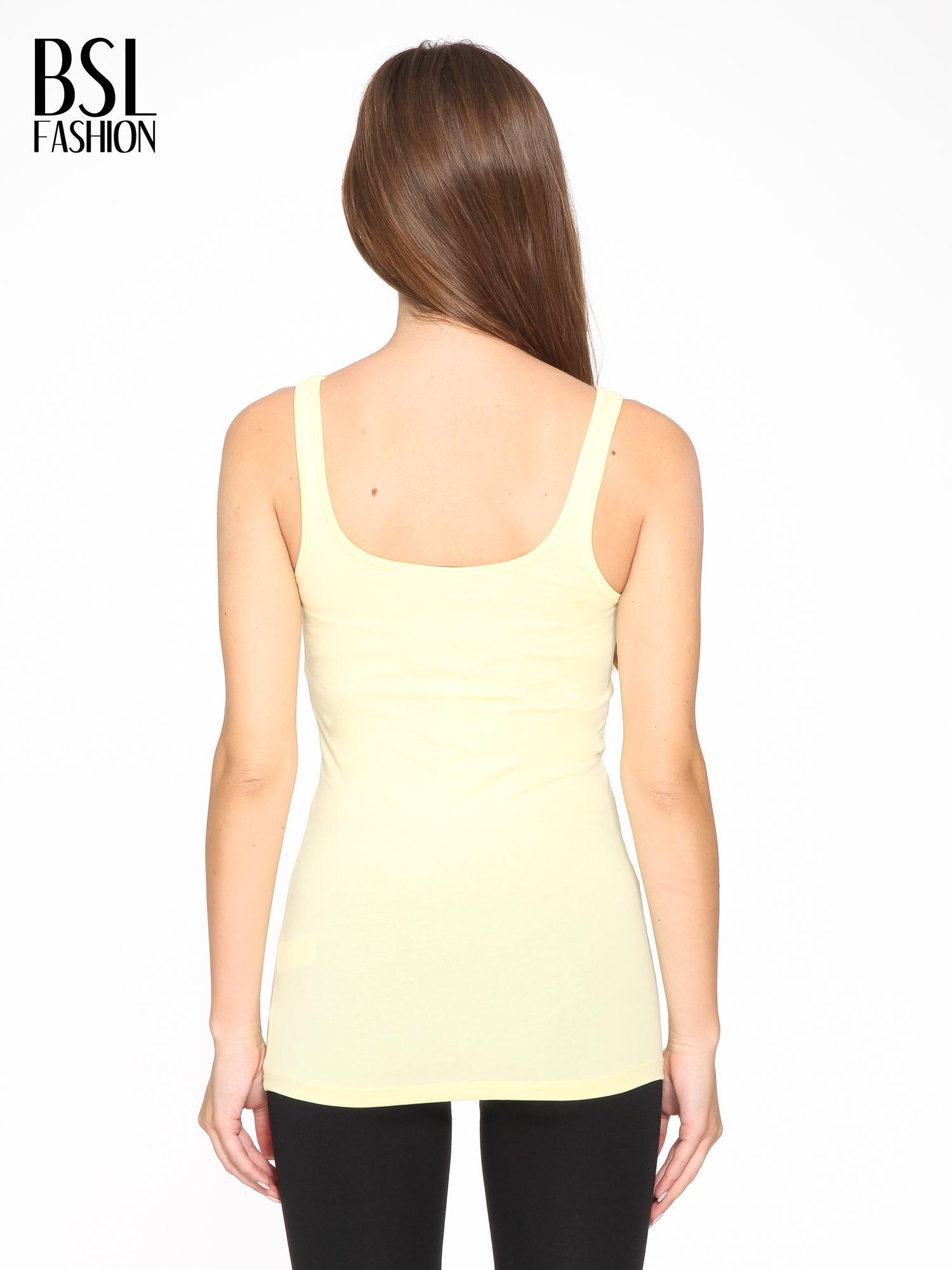 Żółty gładki top na szerokich ramiączkach                                  zdj.                                  4