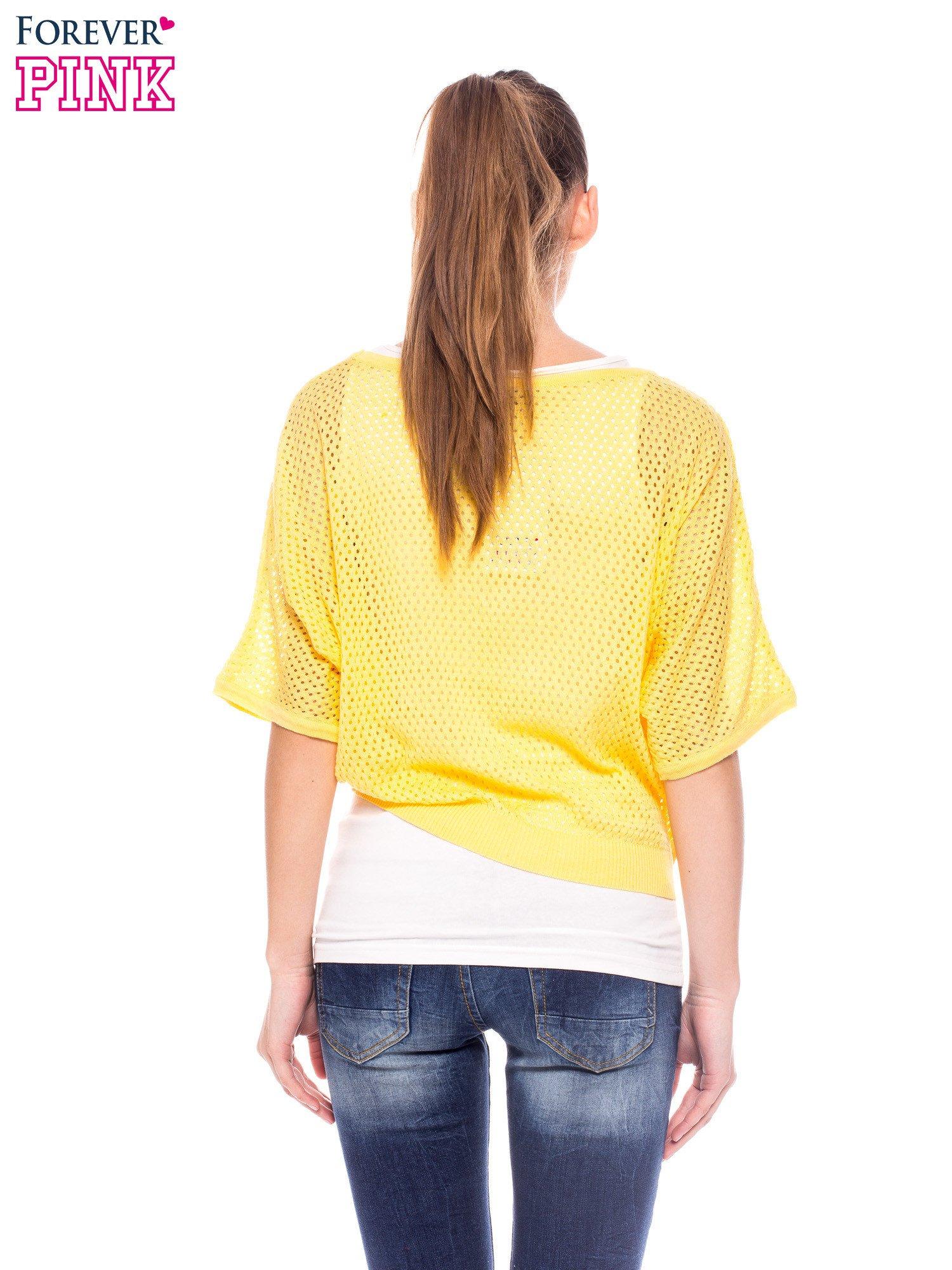 Żółty siateczkowy sweter oversize                                  zdj.                                  4