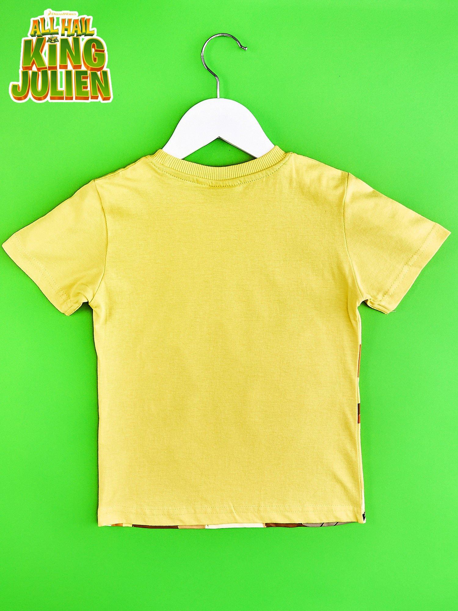 Żółty t-shirt chłopięcy z nadrukiem KRÓL JULIAN                                  zdj.                                  2