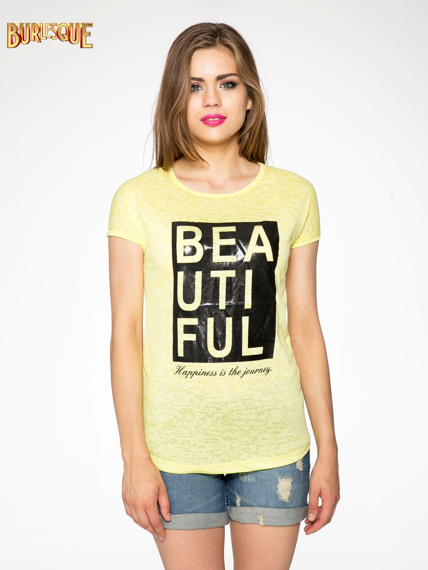 Żółty t-shirt z nadrukiem BEAUTIFUL                                  zdj.                                  10