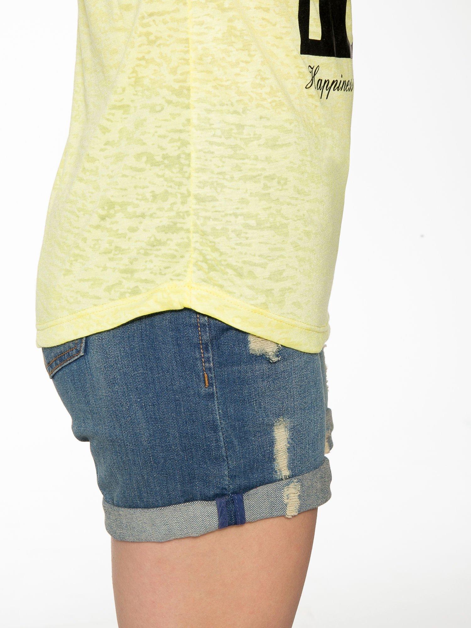 Żółty t-shirt z nadrukiem BEAUTIFUL                                  zdj.                                  8